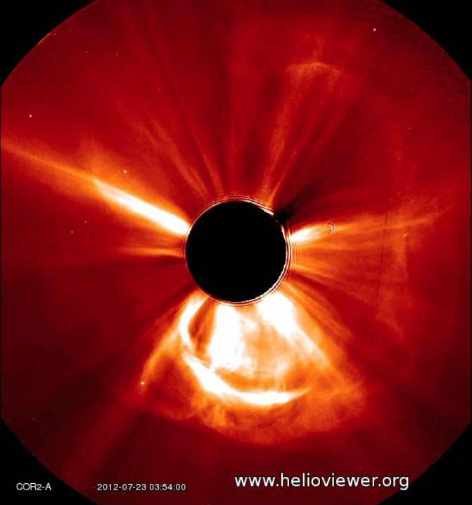 ASSOCIATED PRESS/NASA Solar Terrestrial Relations Observatory This is a view of a coronal mass ejection on the sun from July 2012. On July 23, 2012, the sun unleashed two massive clouds of plasma that barely missed a catastrophic encounter with the Earth's atmosphere.