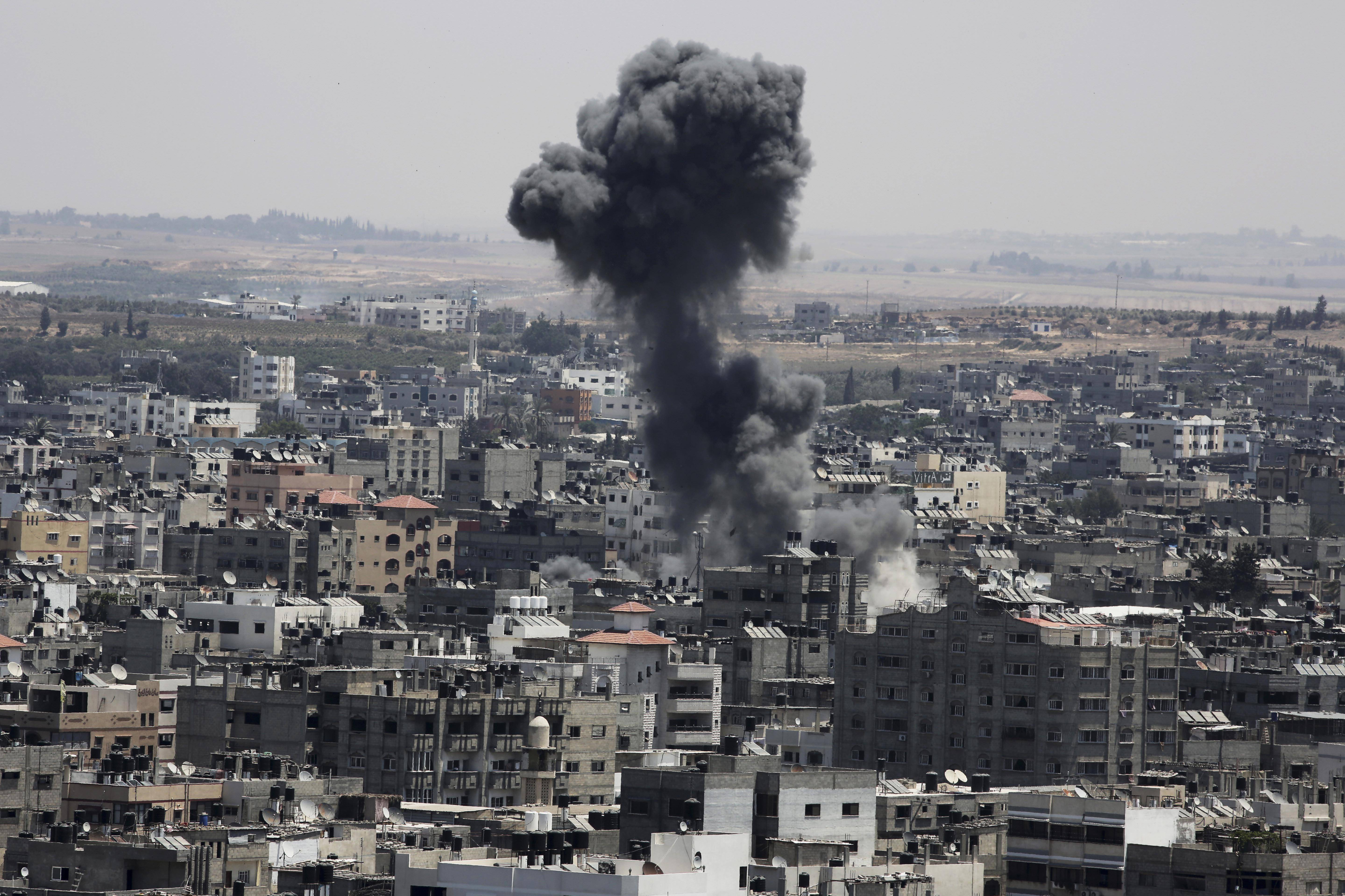 Smoke from an Israeli strike rises over Gaza City, in the northern Gaza Strip Sunday.