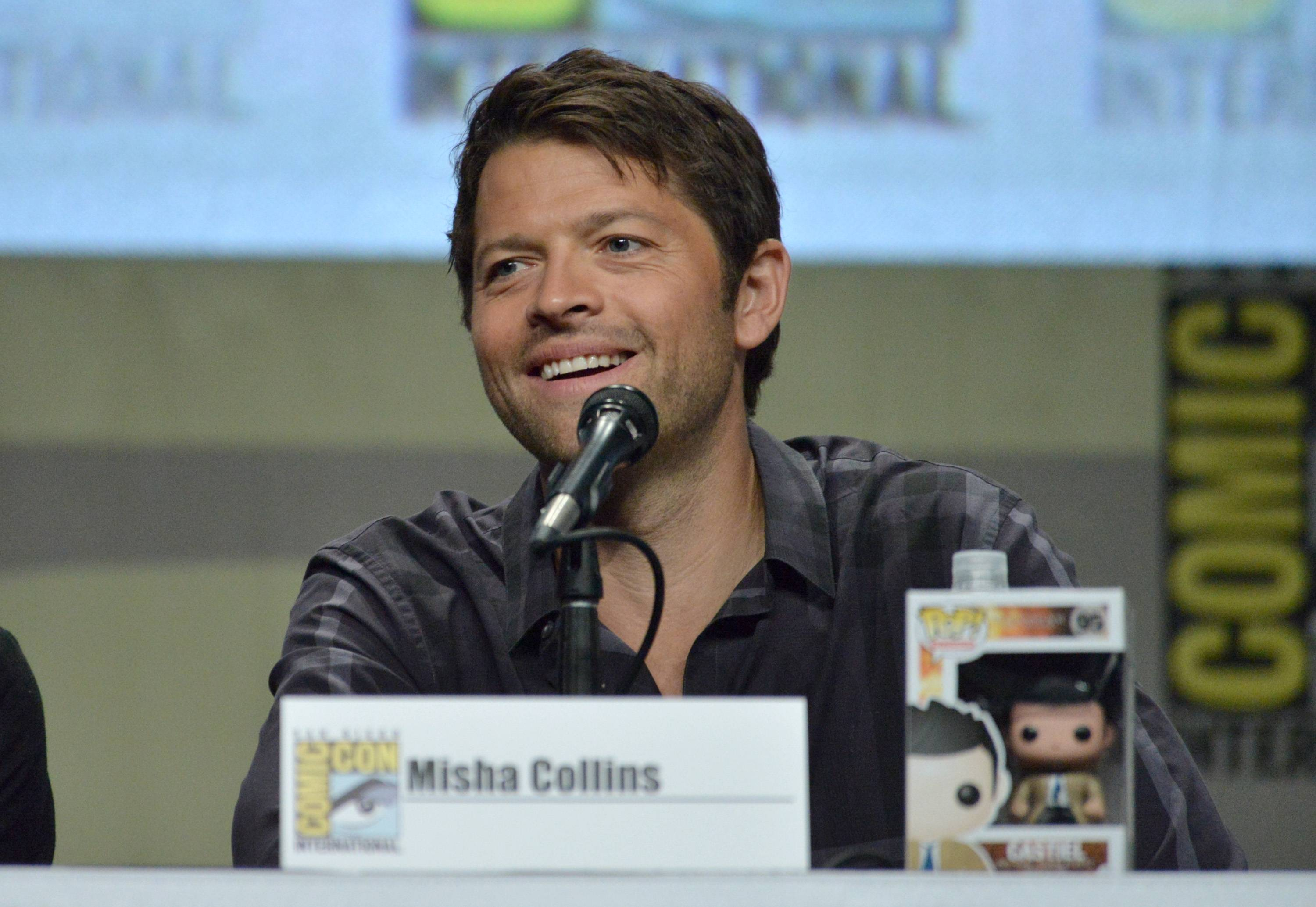 "Misha Collins attends the ""Supernatural"" special video presentation and Q&A on Day 4 of Comic-Con International on Sunday."