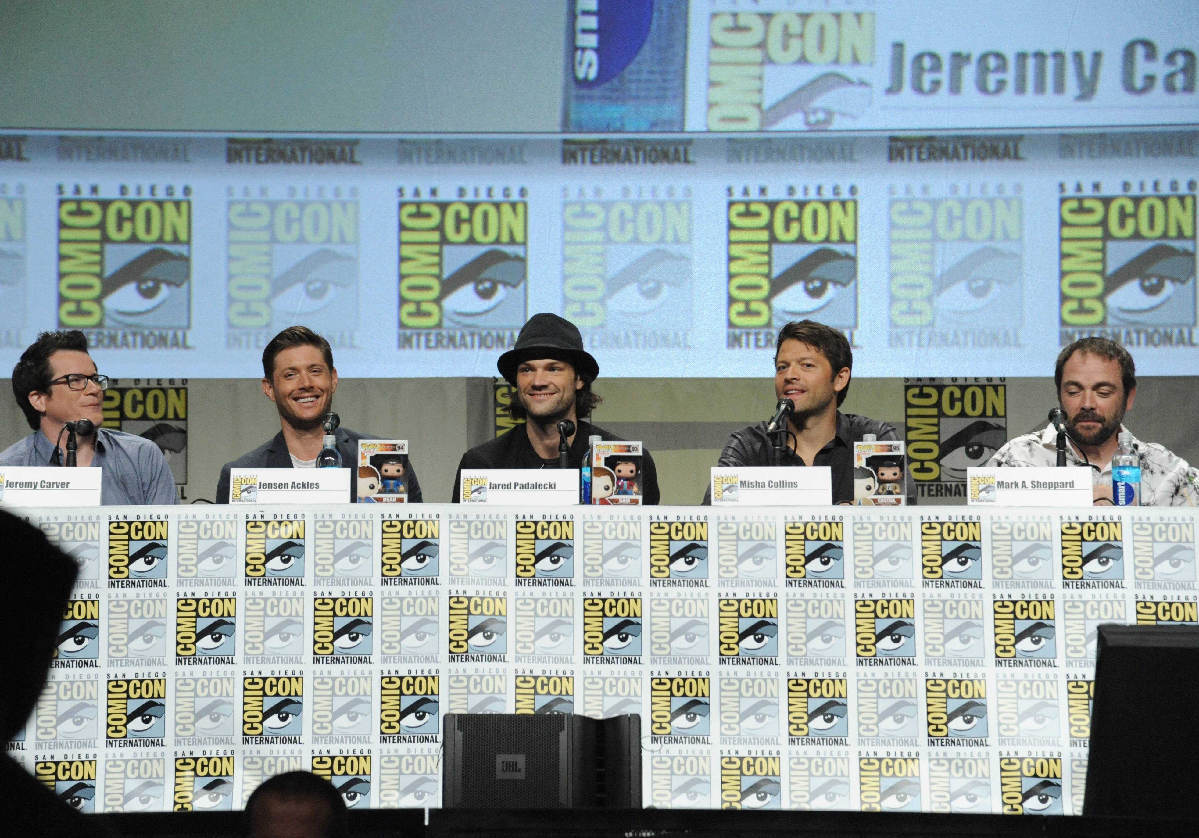 "Producer Jeremy Carver, from left, Jensen Ackles, Jared Padalecki, Misha Collins and Mark Sheppard attend the ""Supernatural"" special video presentation and Q&A on Day 4 of Comic-Con International on Sunday."