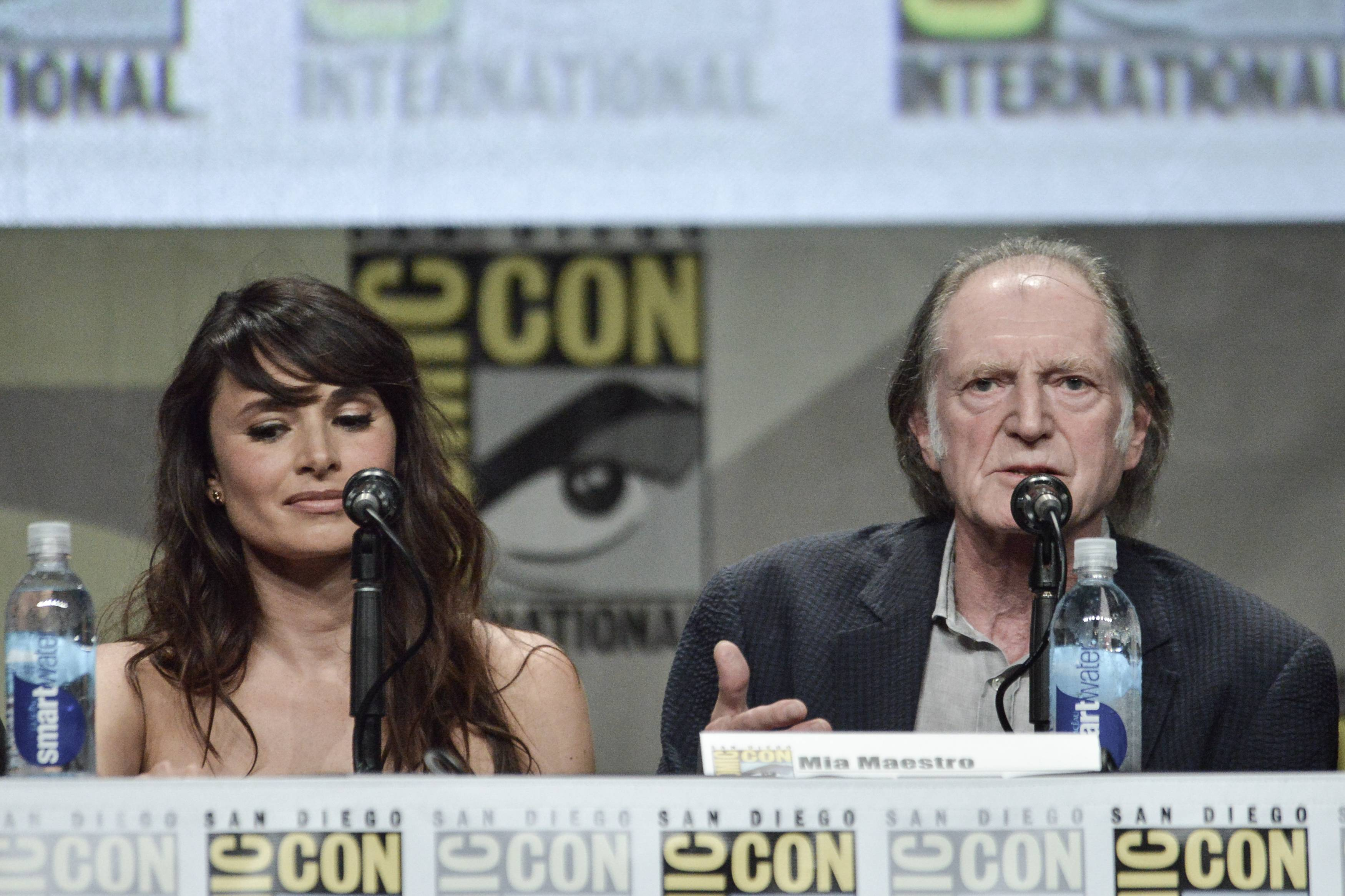 "Mia Maestro, left, and David Bradley attends ""The Strain"" panel on Day 4 of Comic-Con International on Sunday in San Diego."