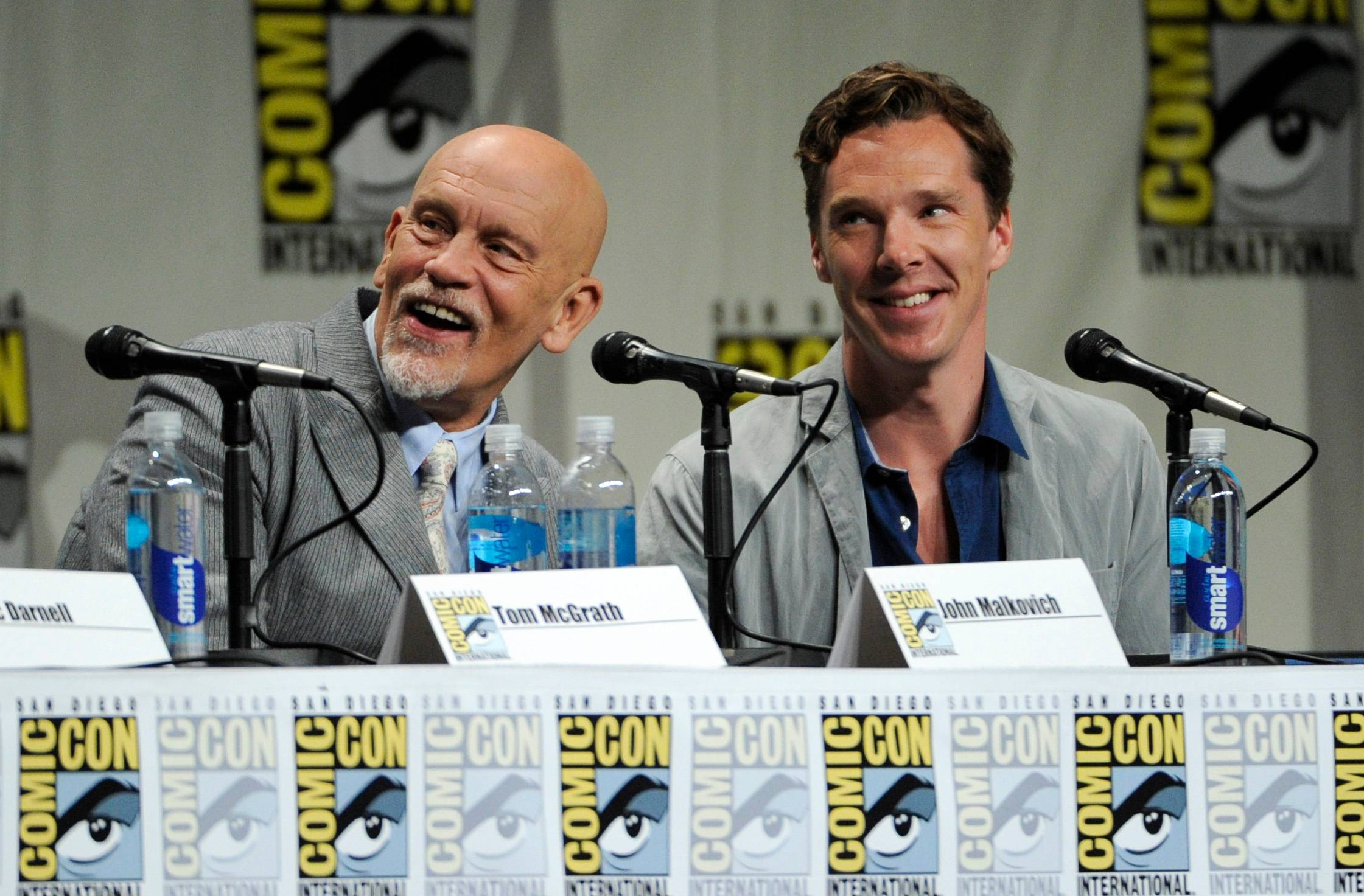 "John Malkovich, left, and Benedict Cumberbatch attend the ""DreamWorks Animation"" panel on Day 1 of Comic-Con International on Thursday in San Diego."