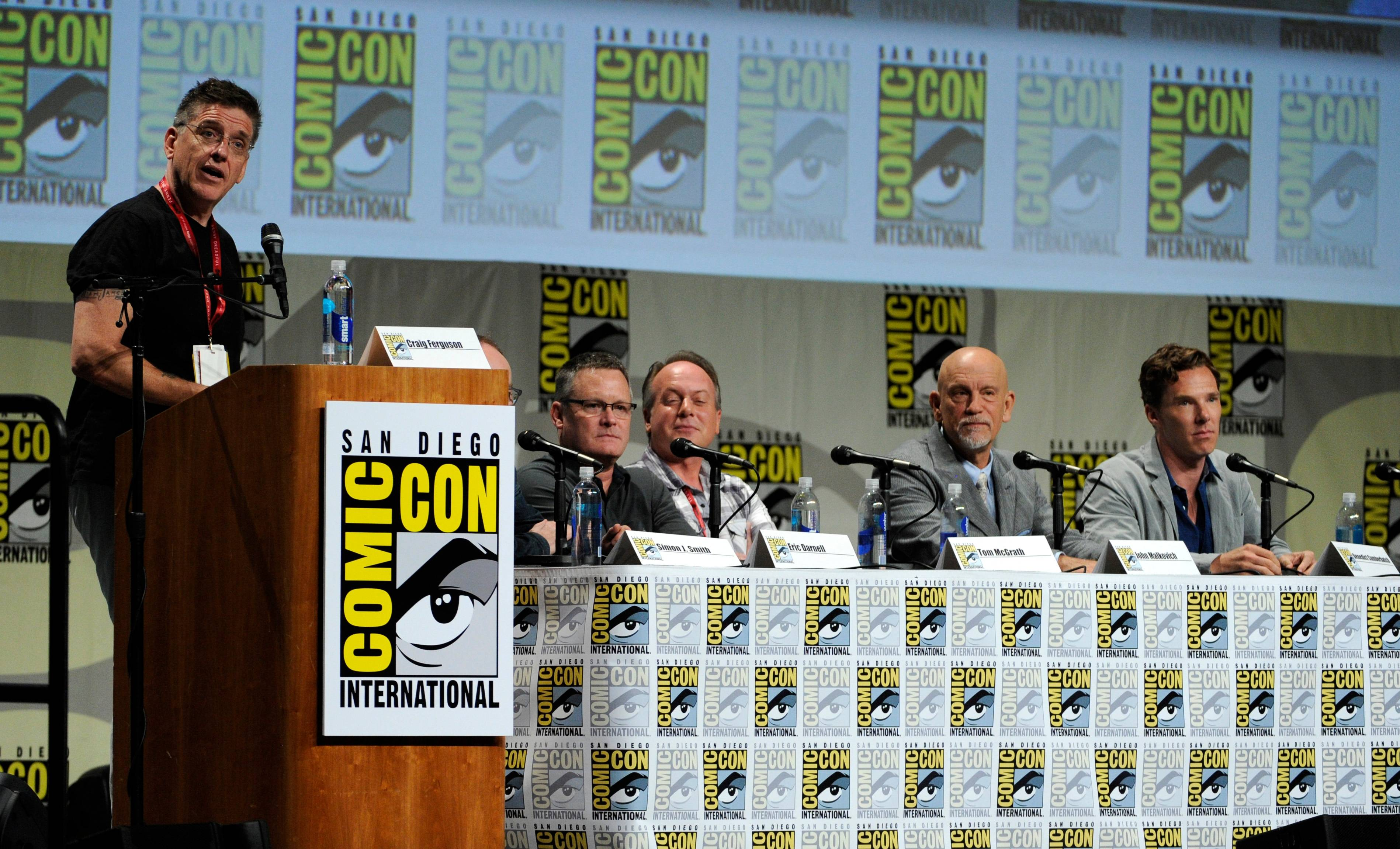 "From left, Craig Ferguson, Eric Darnell, Tom McGrath, John Malkovich and Benedict Cumberbatch attend the ""DreamWorks Animation"" panel on Day 1 of Comic-Con International on Thursday in San Diego."