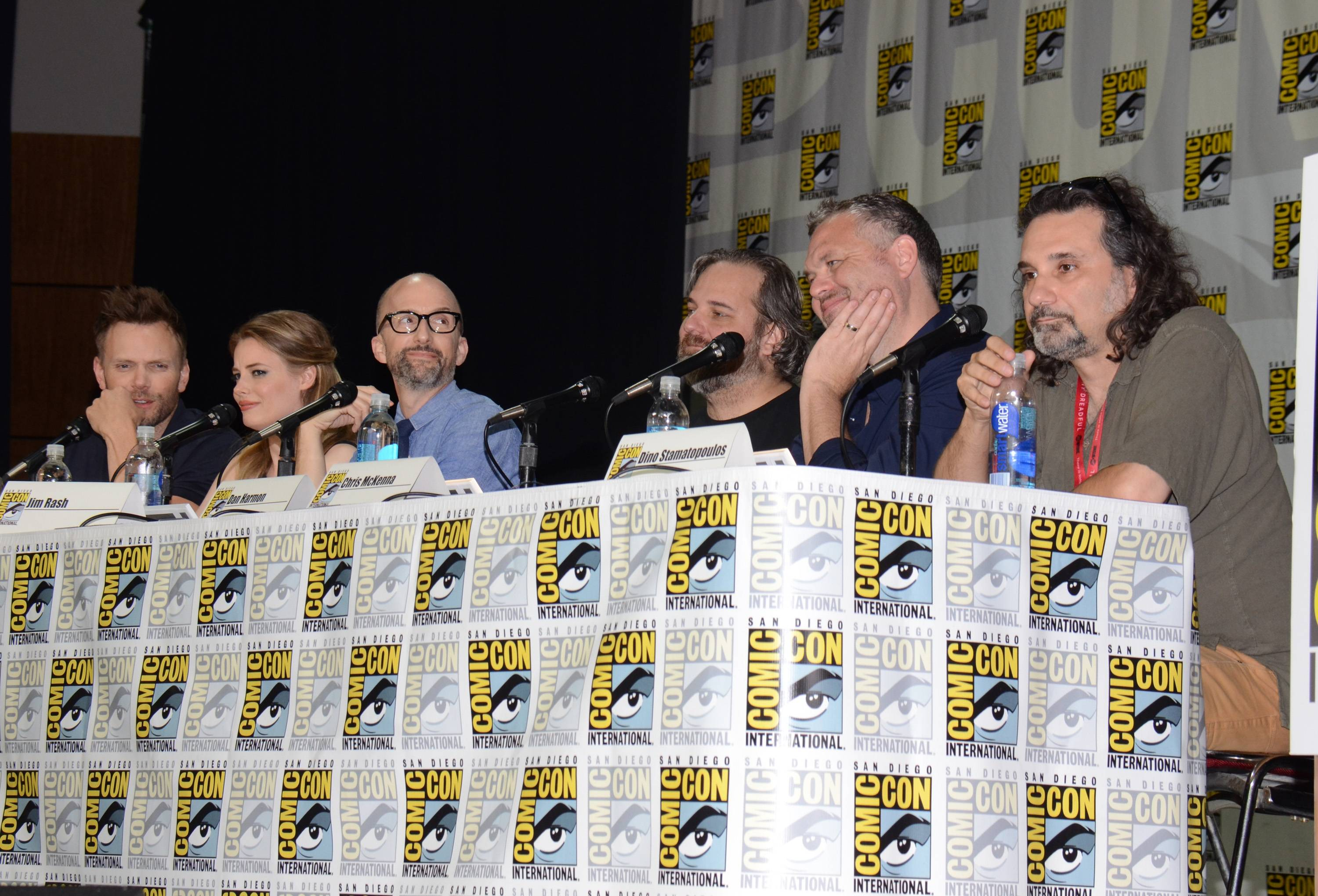 "Joel McHale, from left, Gillian Jacobs, Jim Rash, Dan Harmon,  Chris McKenna and Dino Stamatopoulos attend the ""Community"" panel on Day 1 of Comic-Con International on Thursday."