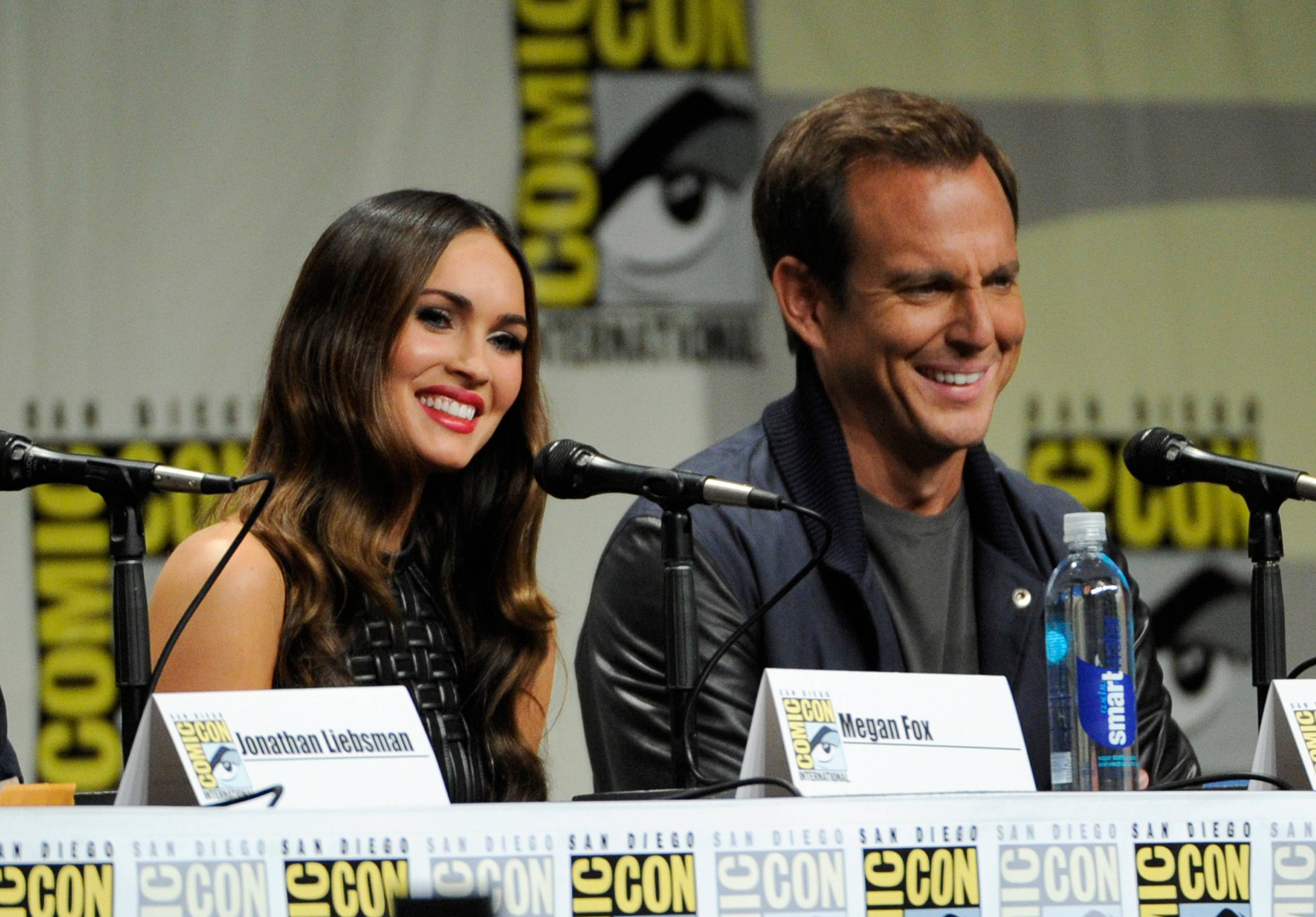 "Megan Fox, left, and Will Arnett attend the ""Paramount Pictures"" panel on Day 1 of Comic-Con International on Thursday."