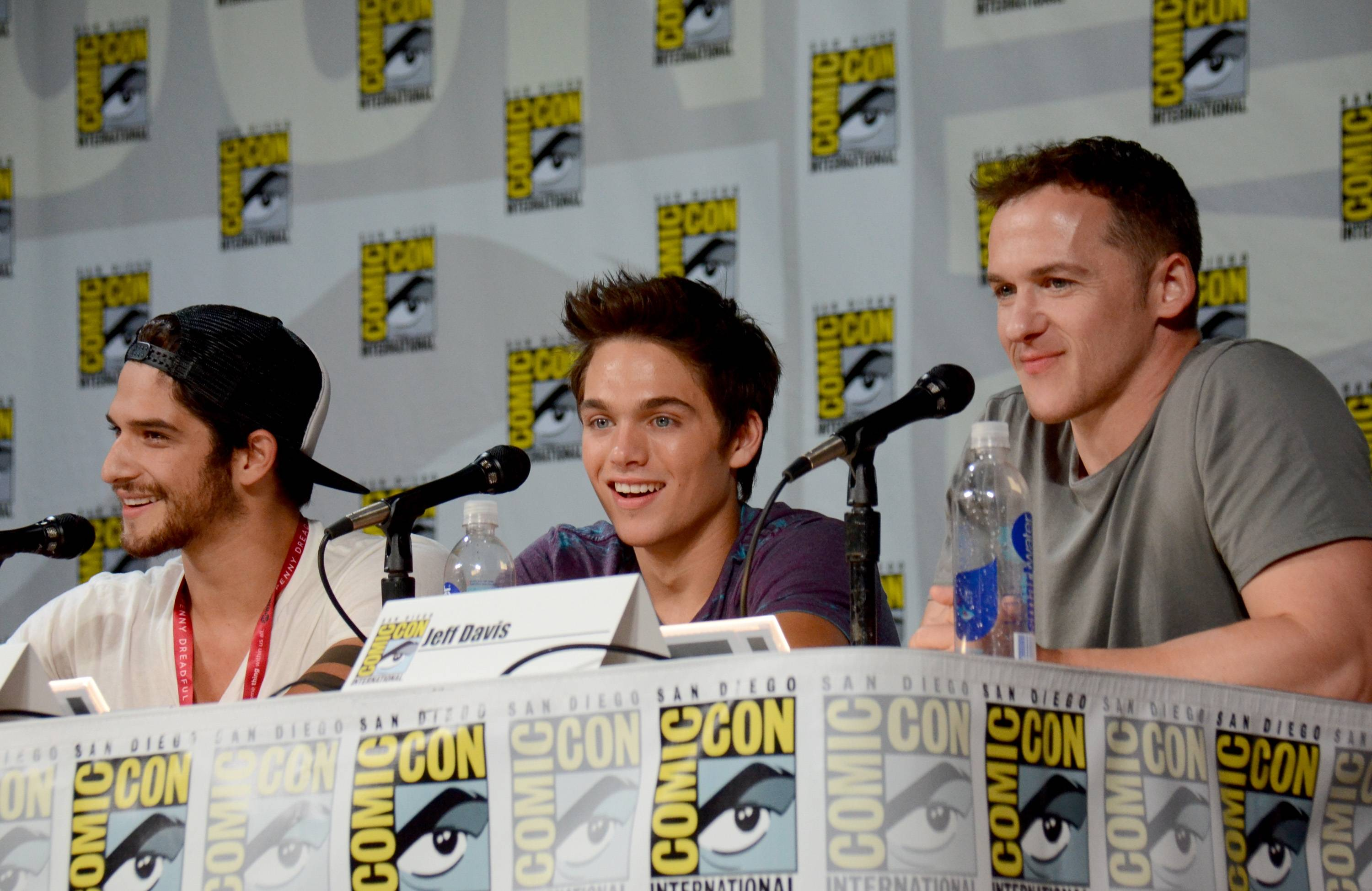 "From left, Tyler Posey, Dylan Sprayberry and Jeff Davis attend the MTV ""Teen Wolf"" panel on Day 1 of Comic-Con International on Thursday."