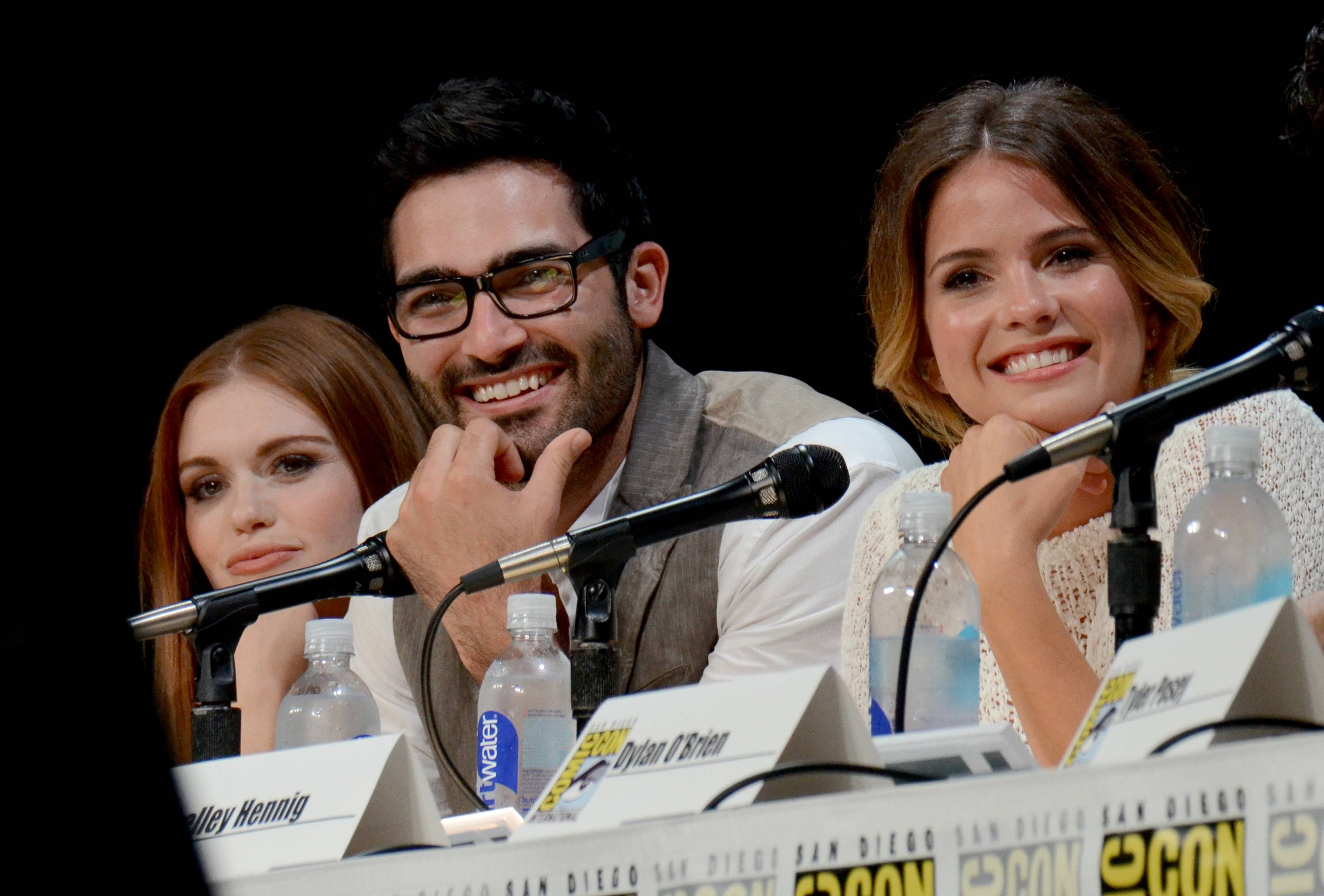 "From left, Holland Roden, Tyler Hoechlin and Shelley Hennig attend the MTV ""Teen Wolf"" panel on Day 1 of Comic-Con International on Thursday."