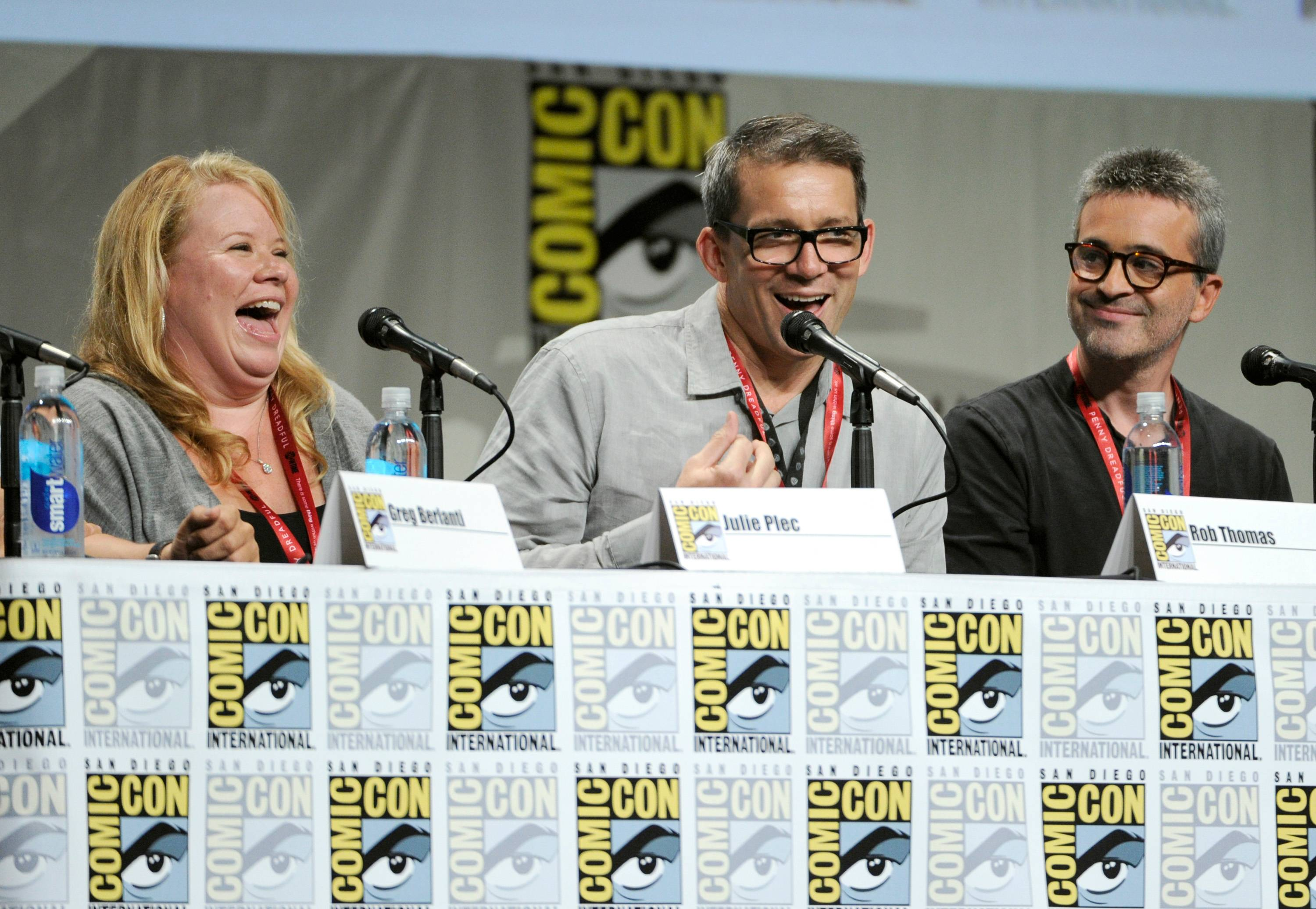 Julie Plec and from left, Rob Thomas and Alex Kurtzman attend the Entertainment Weekly: The Visionaries TV Showrunners panel on Day 1 of Comic-Con International on Thursday.