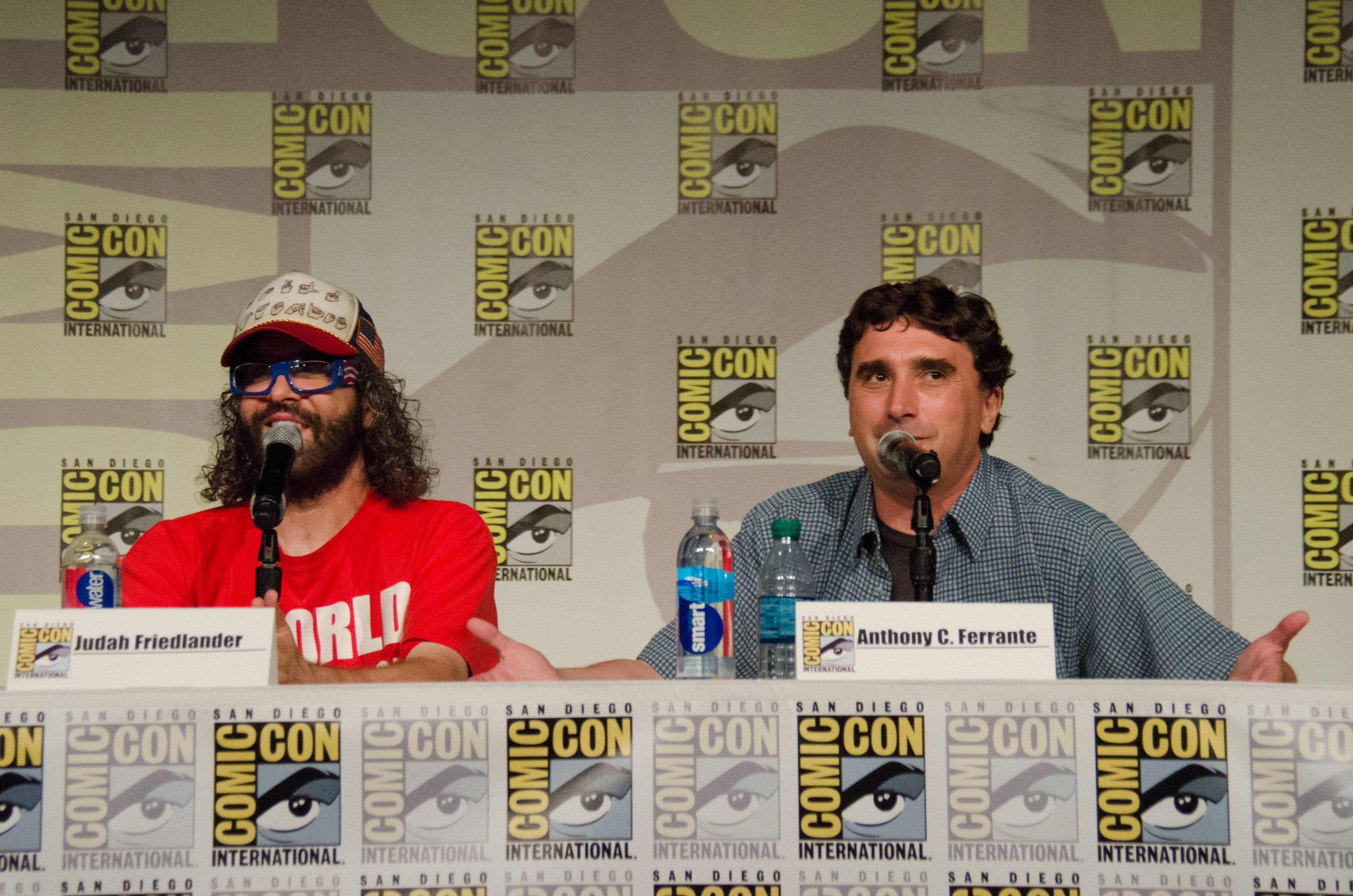 "From left, Judah Friedlander and Anthony C. Ferrante attend the ""Sharknado"" panel on Day 1 of Comic-Con International on Thursday."