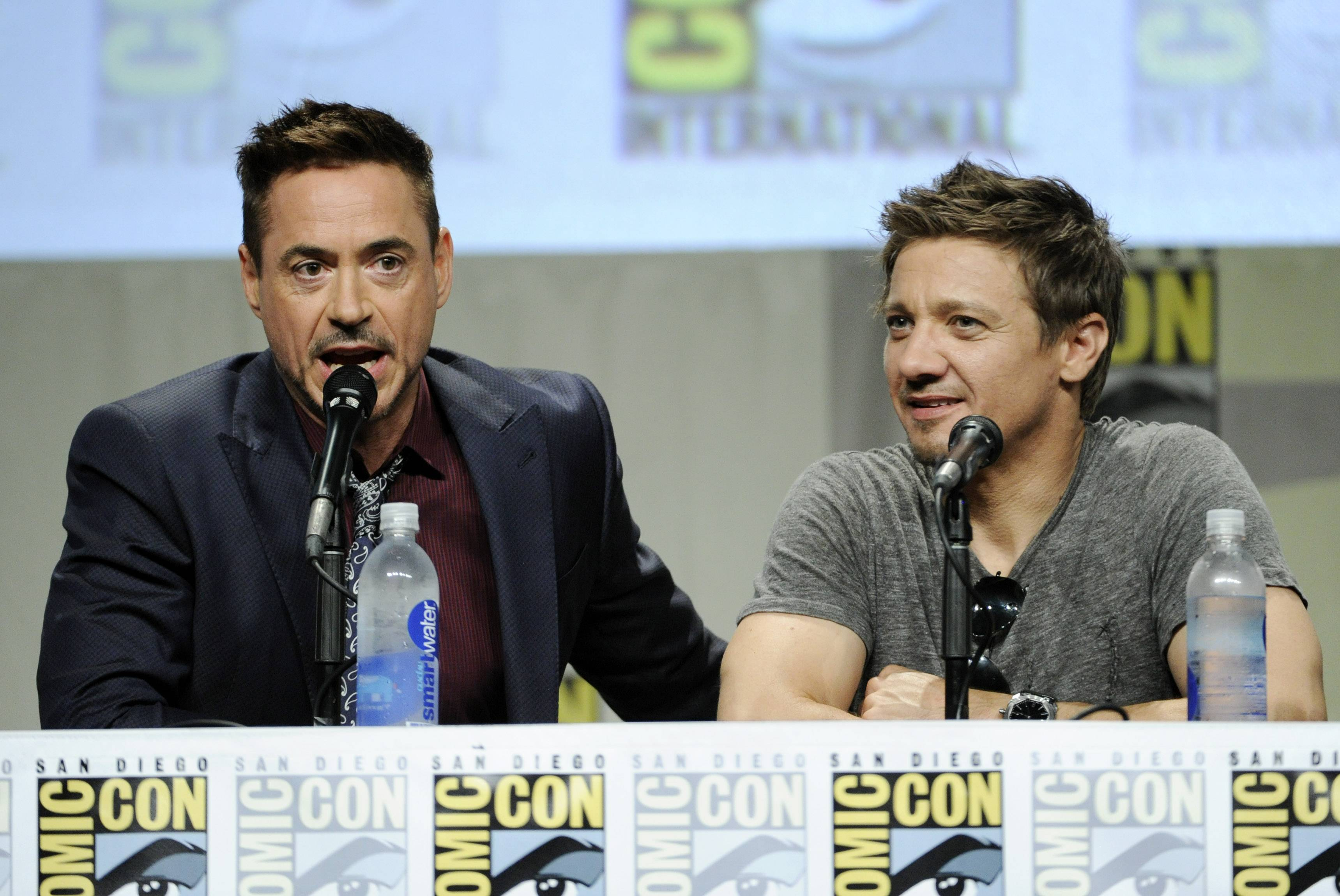 Actors Robert Downey Jr., left, and Jeremy Renner take part in the Marvel panel at Comic-Con International on Saturdayin San Diego.