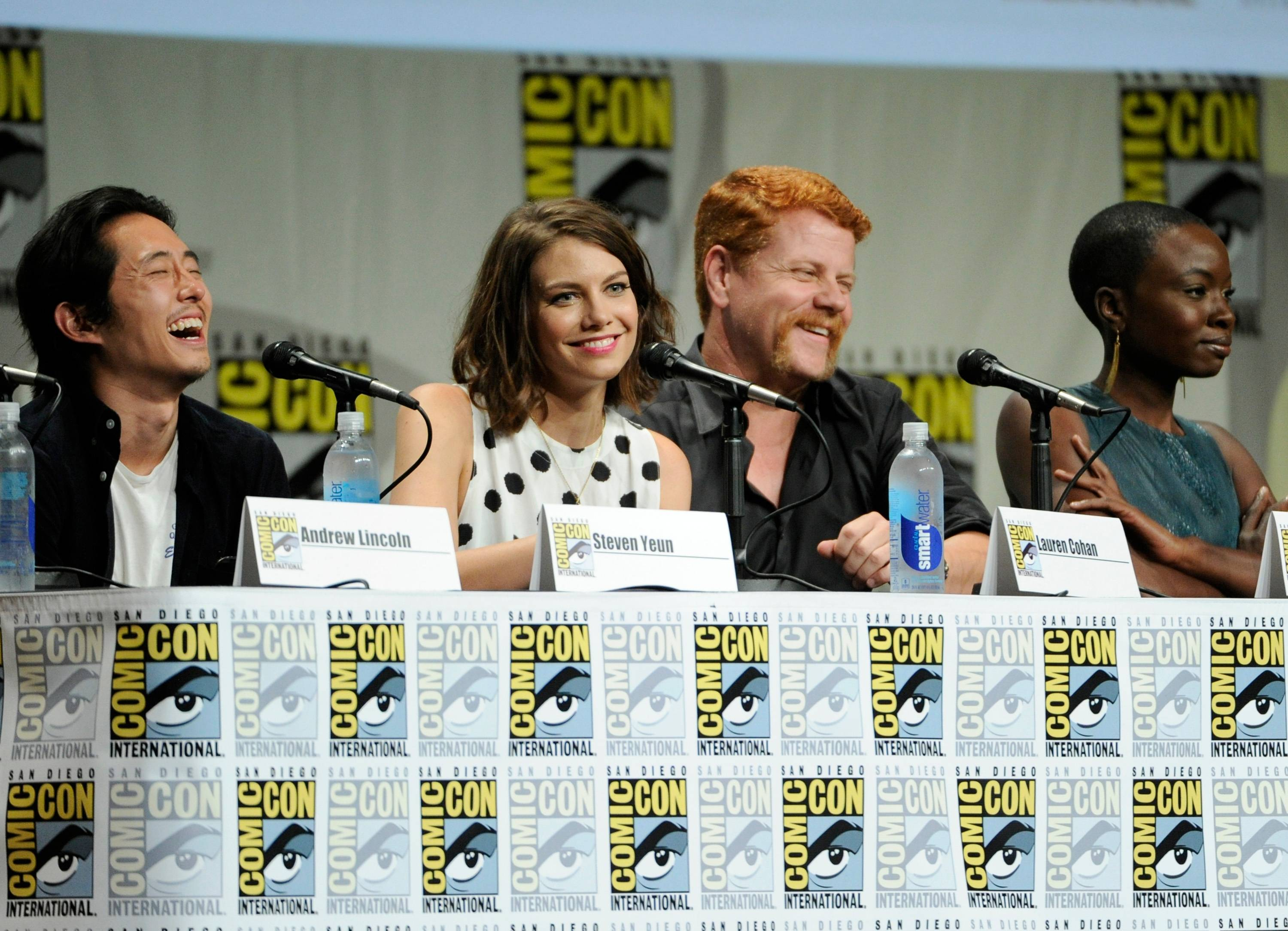 "Steven Yeun and from left, Lauren Cohan, Michael Cudlitz and Danai Gurira attend ""The Walking Dead"" panel on Day 2 of Comic-Con International on Friday in San Diego."