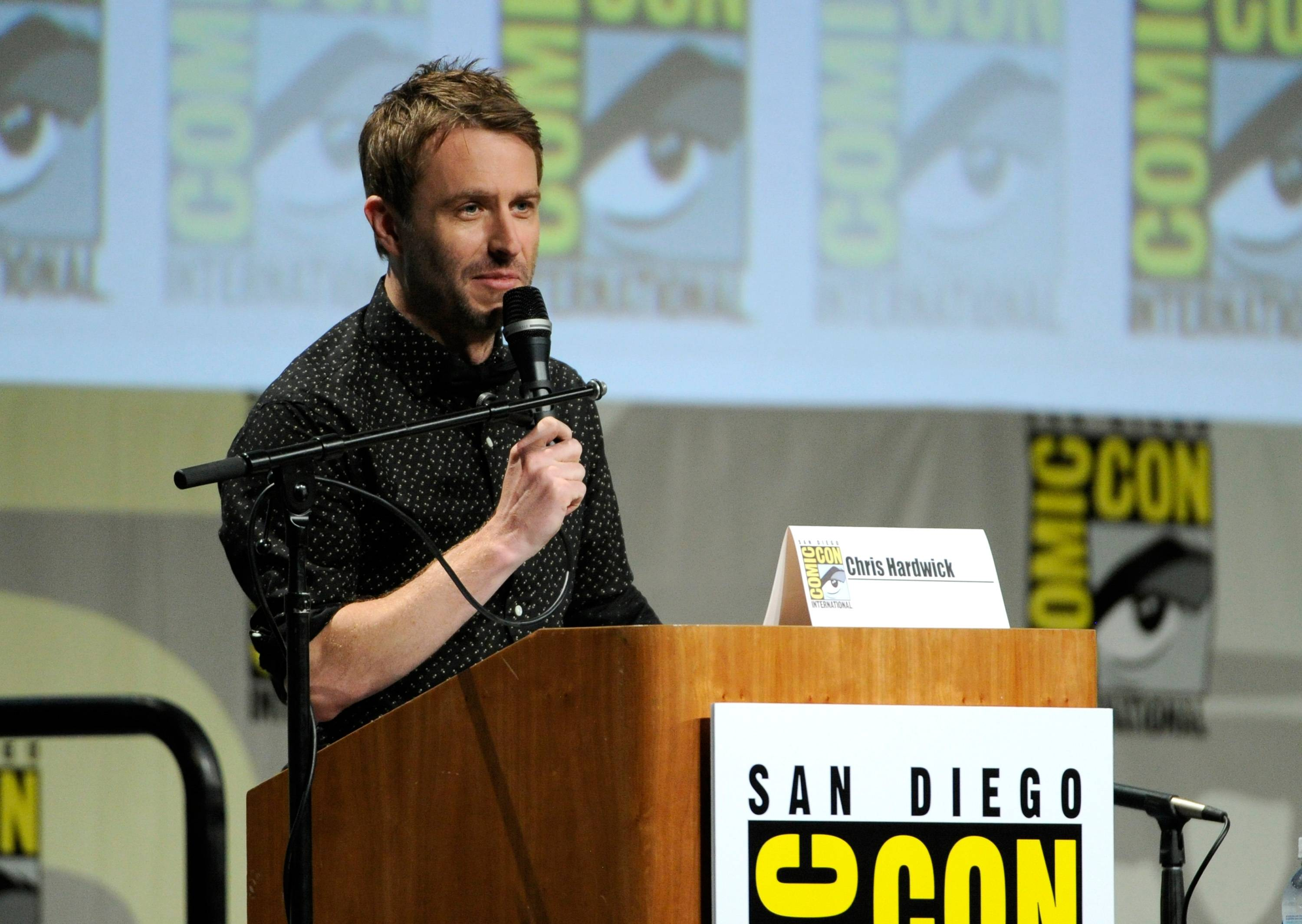 "Chris Hardwick attends ""The Walking Dead"" panel on Day 2 of Comic-Con International on Friday."