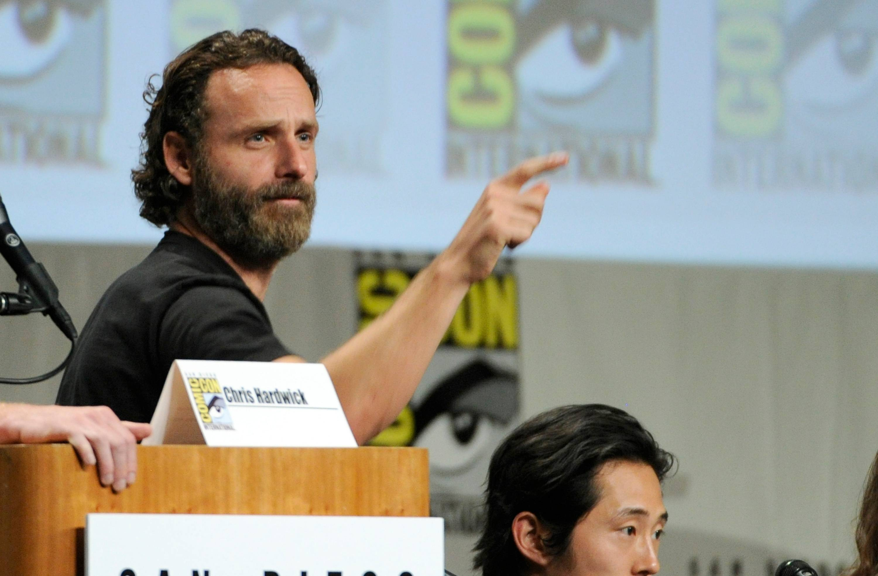 "Andrew Lincoln attends ""The Walking Dead"" panel on Day 2 of Comic-Con International on Friday, July 25, 2014, in San Diego. (Photo by Chris Pizzello/Invision/AP)"