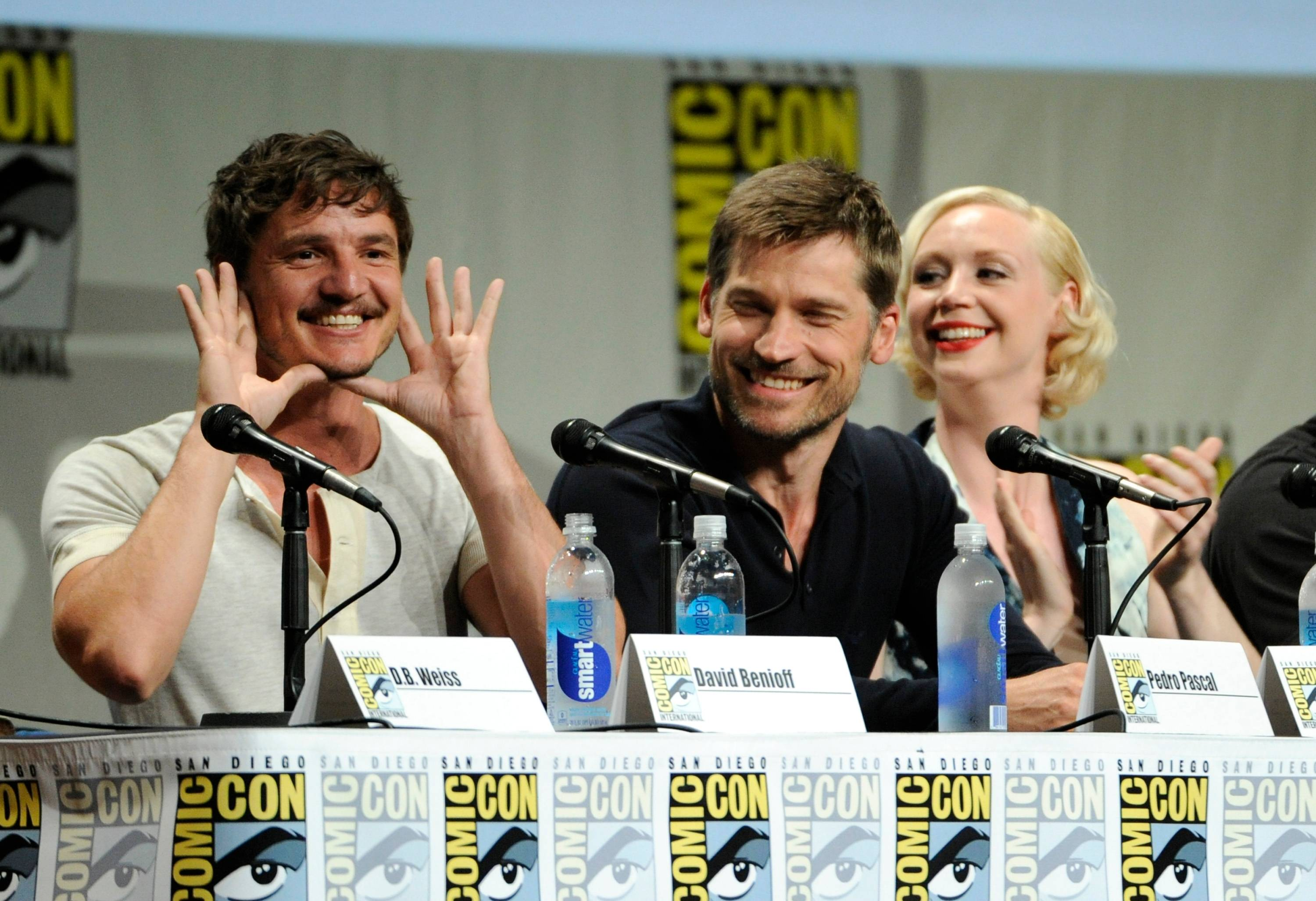 "Pedro Pascal and from left, Nikolaj Coster-Waldau and Gwendoline Christie attend the ""Game of Thrones"" panel on Day 2 of Comic-Con International on Friday."