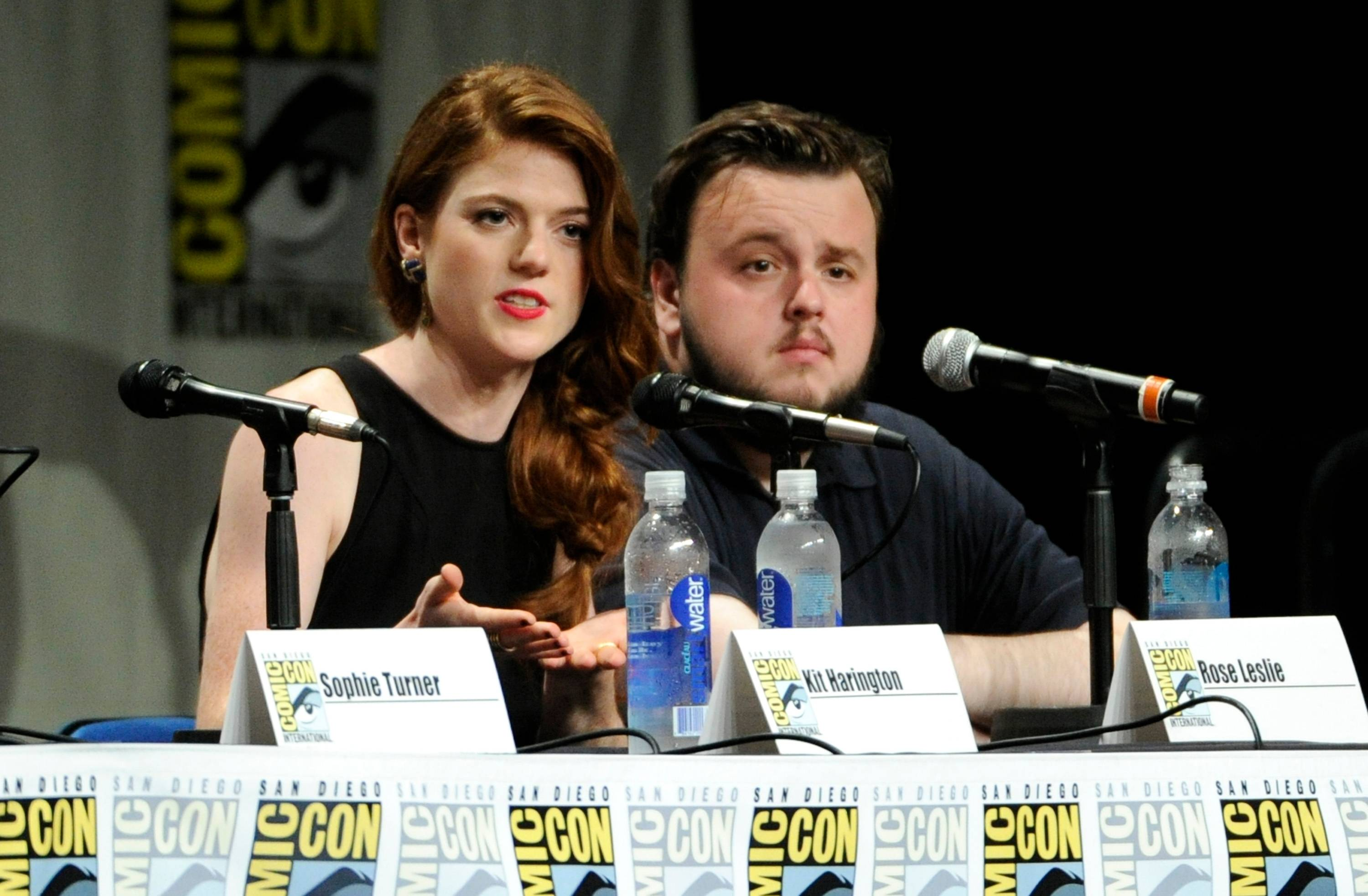 "Rose Leslie and John Bradley attend the ""Game of Thrones"" panel on Day 2 of Comic-Con International on Friday."