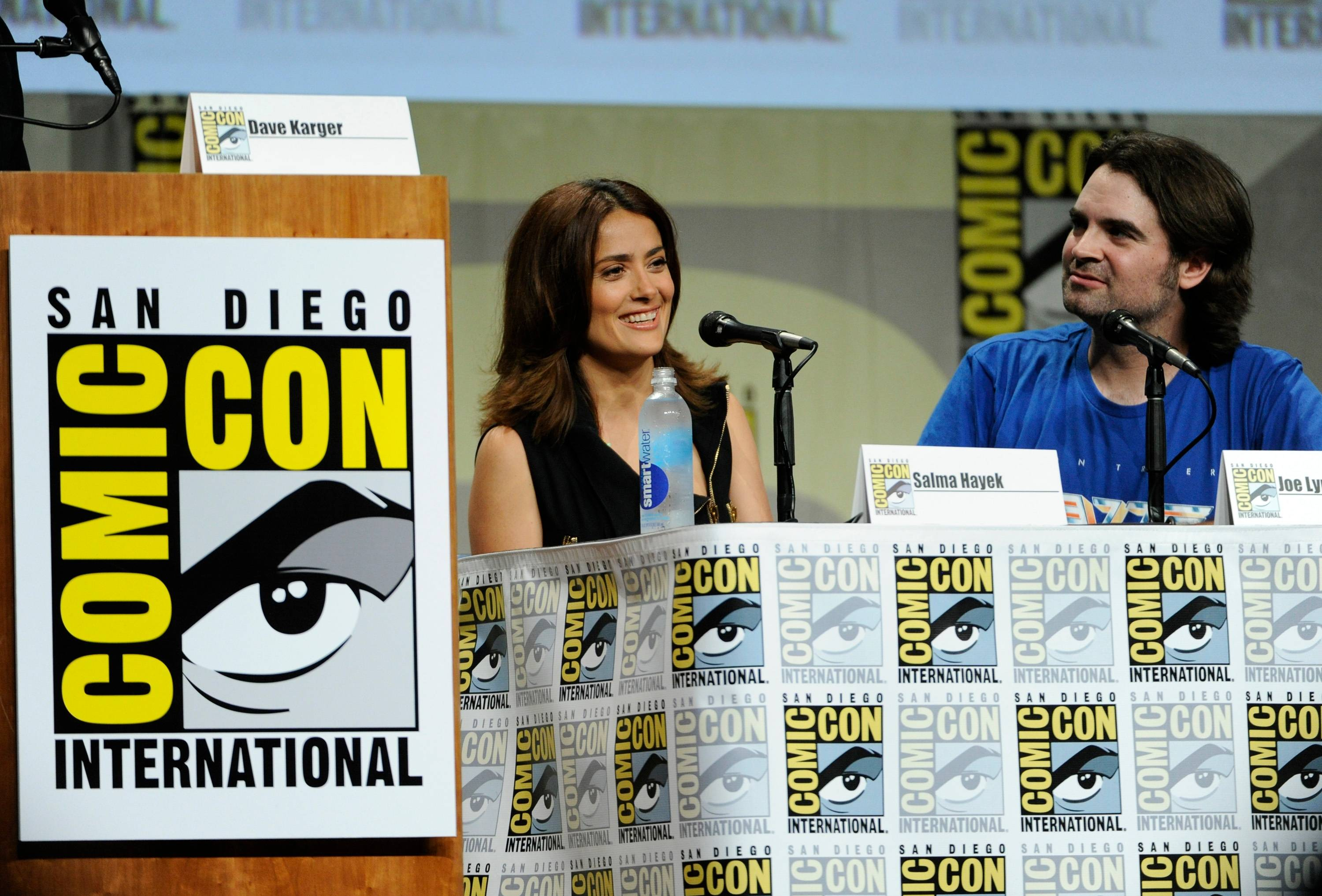 "Salma Hayek and director Joe Lynch attend the RADiUS-TWC ""Everly"" panel on Day 2 of Comic-Con International on Friday."