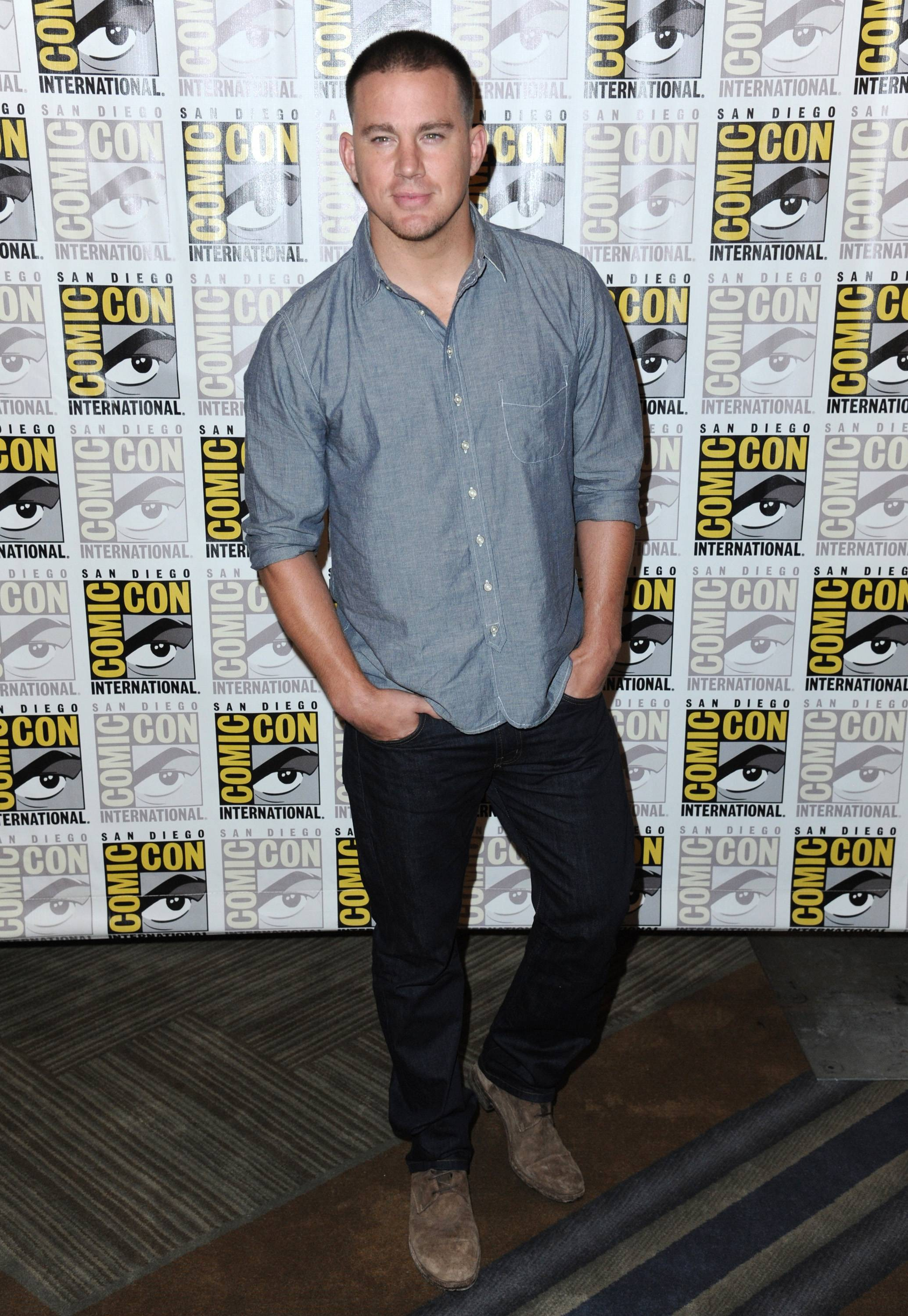 Channing Tatum attends 20th Century Fox press line on Day 2 of Comic-Con International on Friday.