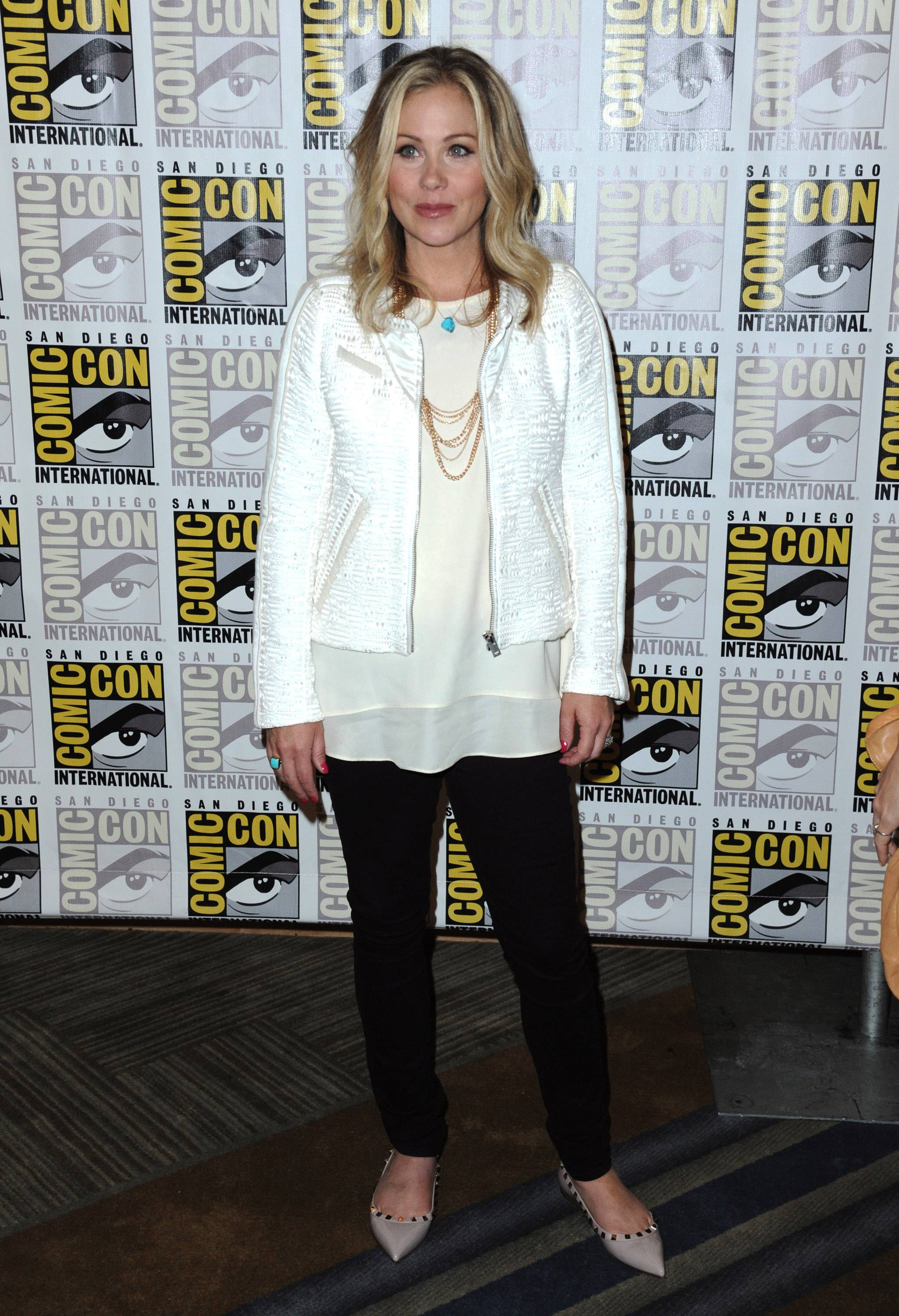Christina Applegate attends 20th Century Fox press line on Day 2 of Comic-Con International on Friday.