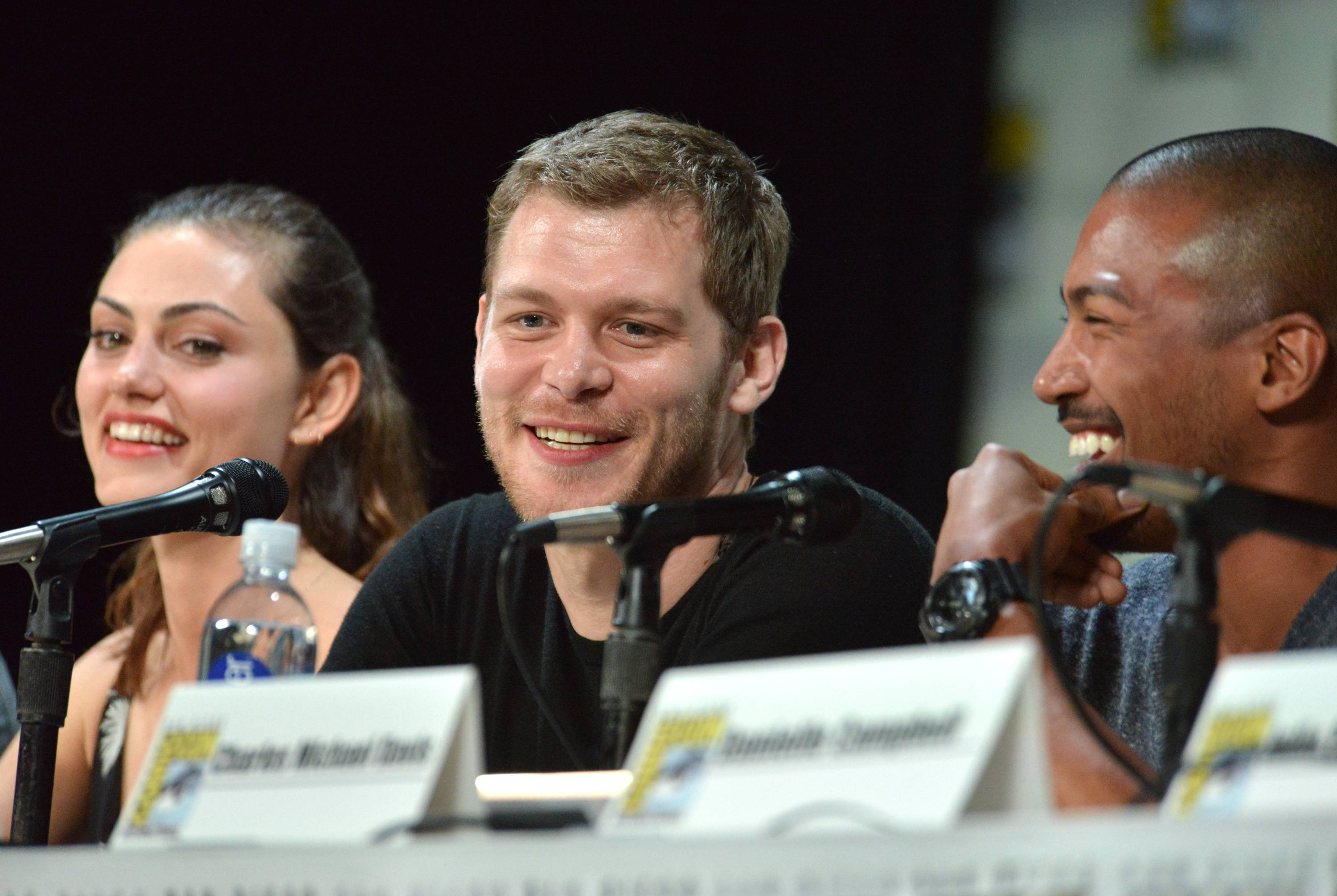 "Phoebe Tonkin and from left, Joseph Morgan and Charles Michael Davis attend ""The Originals"" panel on Day 2 of Comic-Con International on Friday."