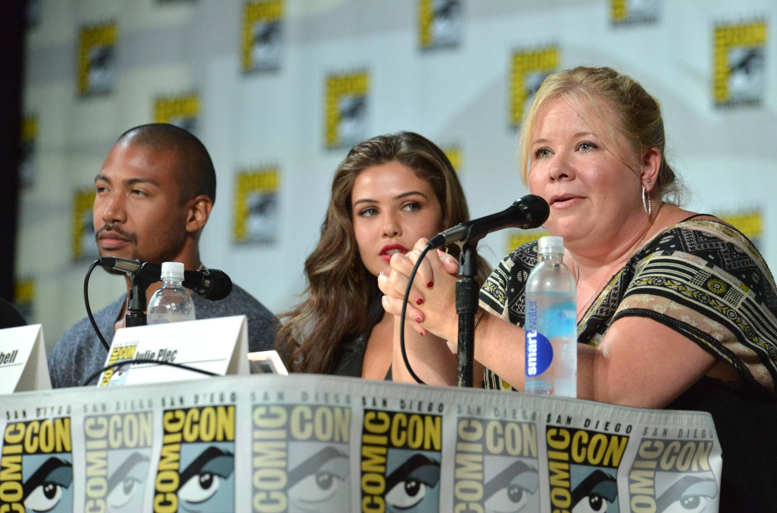 "Charles Michael Davis and from left, Danielle Campbell and producer Julie Plec attend ""The Originals"" panel on Day 2 of Comic-Con International on Friday."