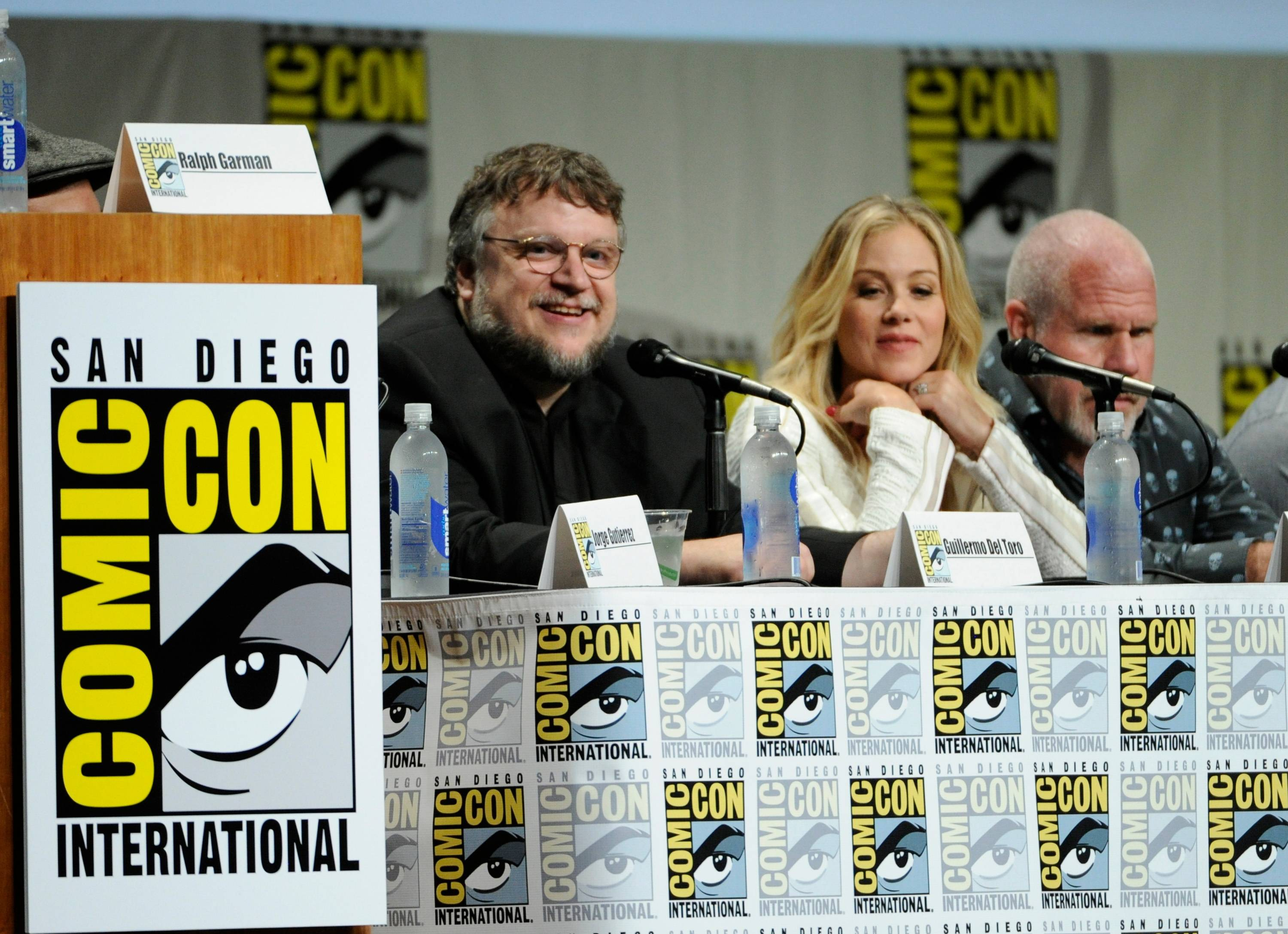 "Guillermo Del Toro and from left, Christina Applegate and Ron Perlman attend the 20th Century Fox panel for ""The Book of Life"" on Day 2 of Comic-Con International on Friday."
