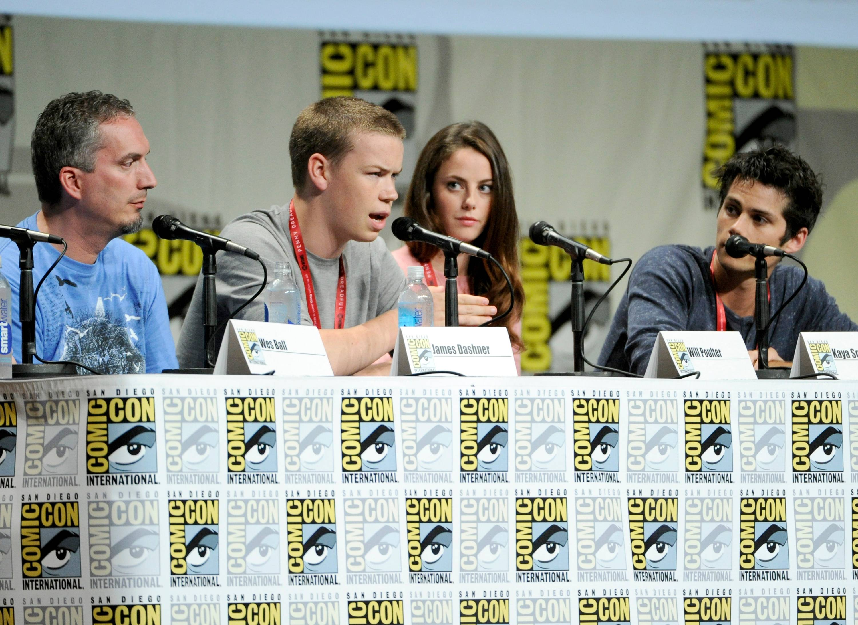 "James Dashner and from left, Will Poulter, Kaya Scodelario and Dylan O'Brien attend 20th Century Fox panel for ""The Maze Runner"" on Day 2 of Comic-Con International on Friday."
