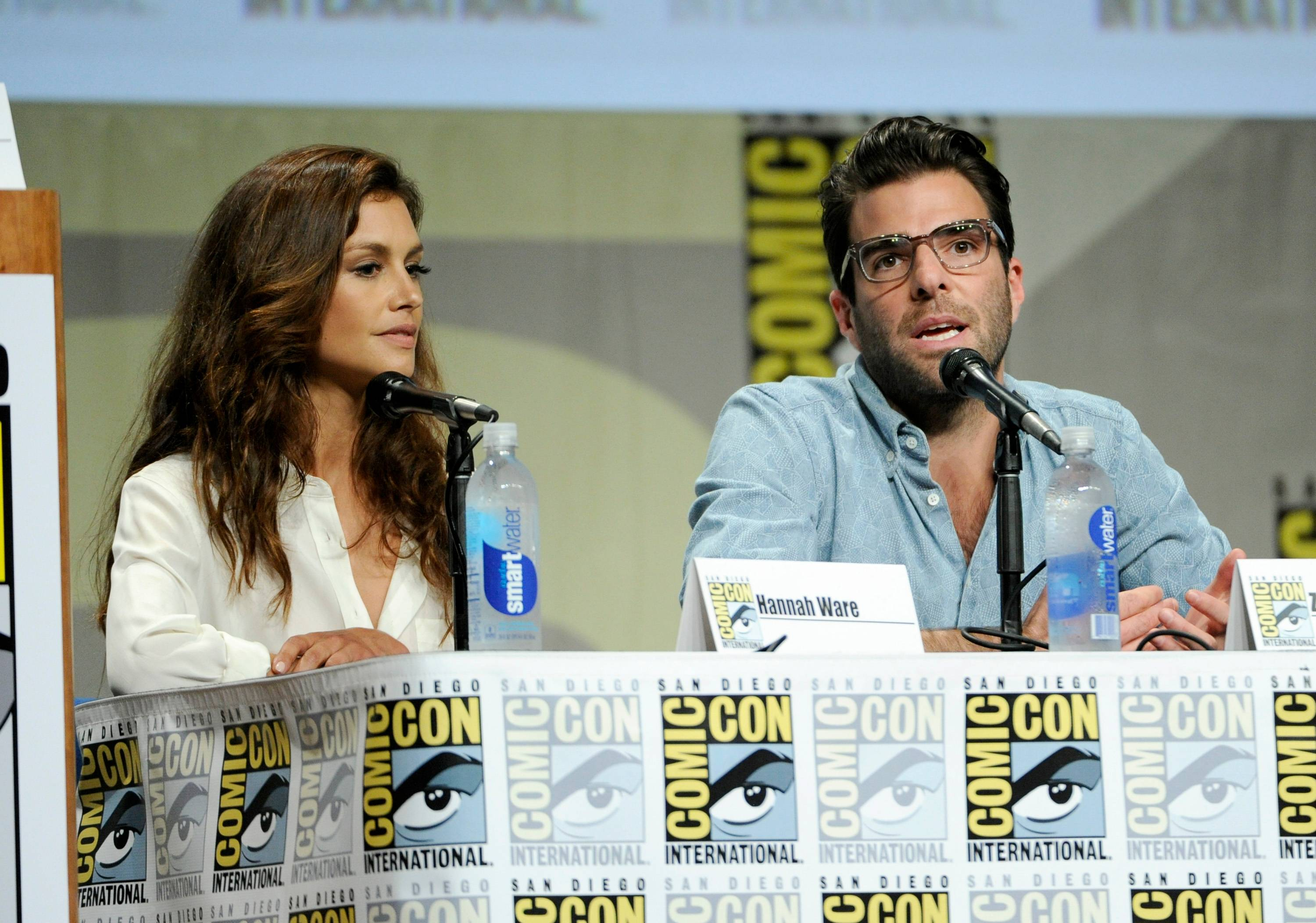 "Hannah Ware, left, and Zachary Quinto attend 20th Century Fox panel for ""Hitman: Agent 47"" on Day 2 of Comic-Con International on Friday."