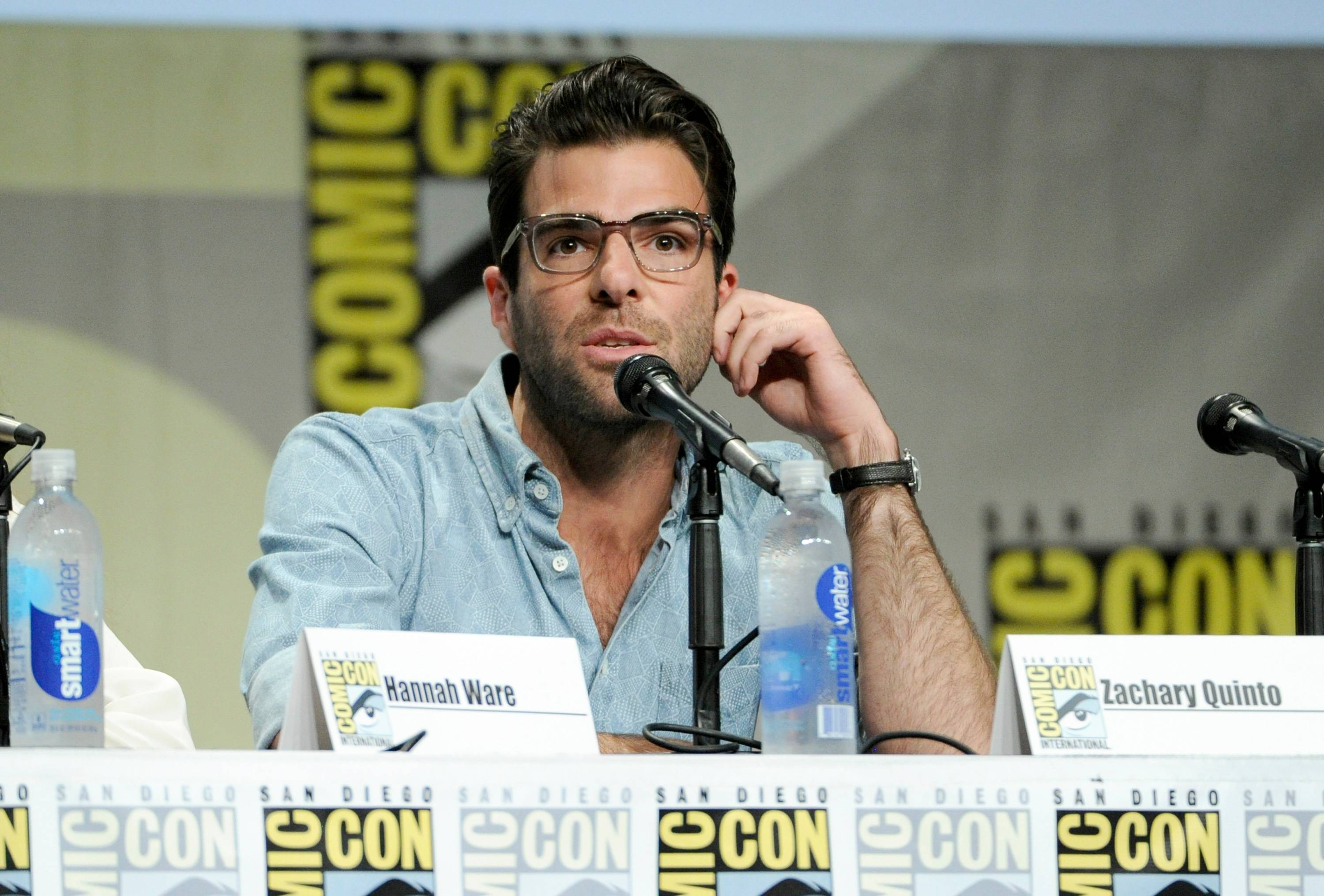 "Zachary Quinto attends 20th Century Fox panel for ""Hitman: Agent 47"" on Day 2 of Comic-Con International on Friday."