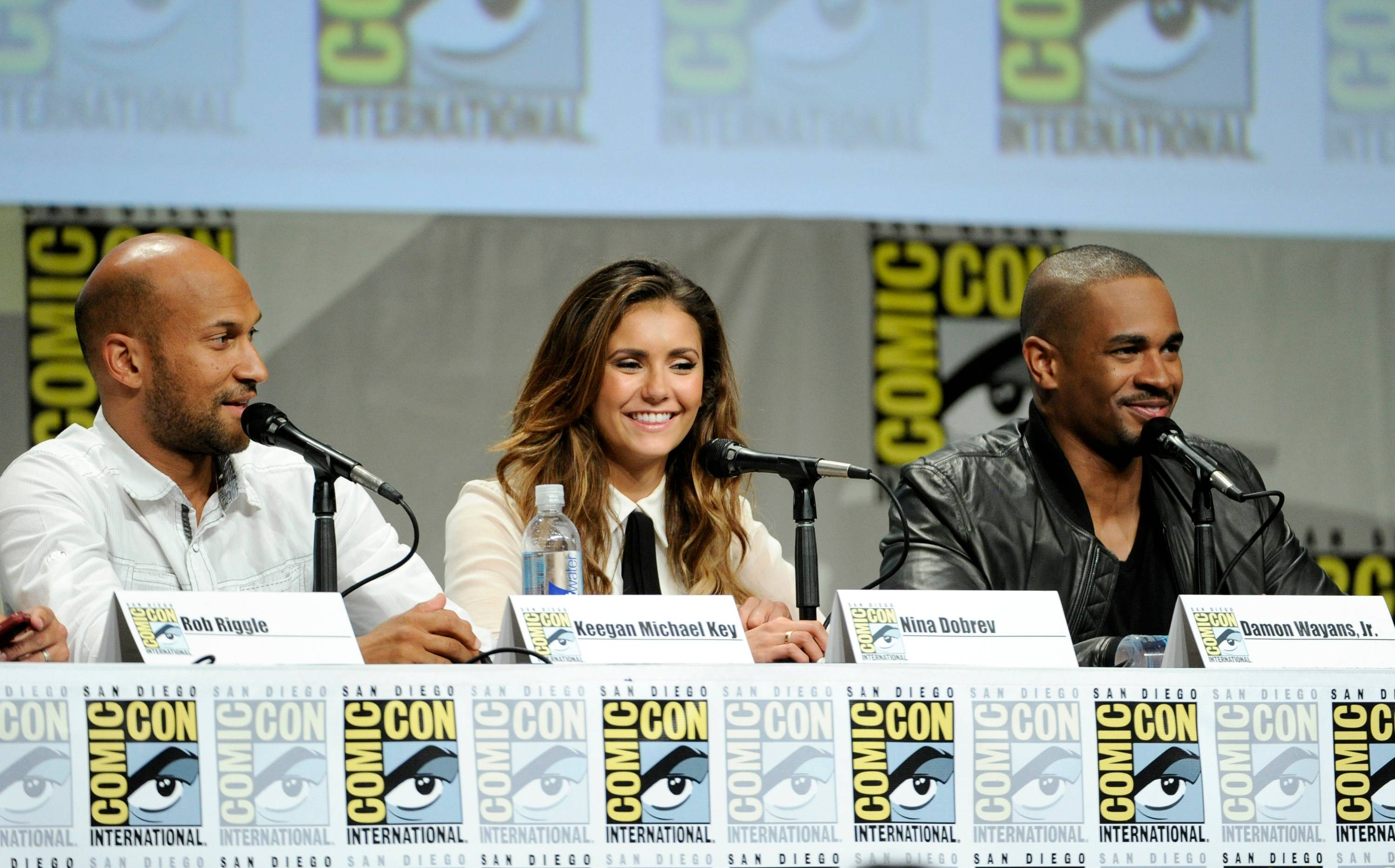"Keegan Michael Key, from left, Nina Dobrev and Damon Wayans attend the 20th Century Fox panel for ""Let's Be Cops"" on Day 2 of Comic-Con International on Friday."