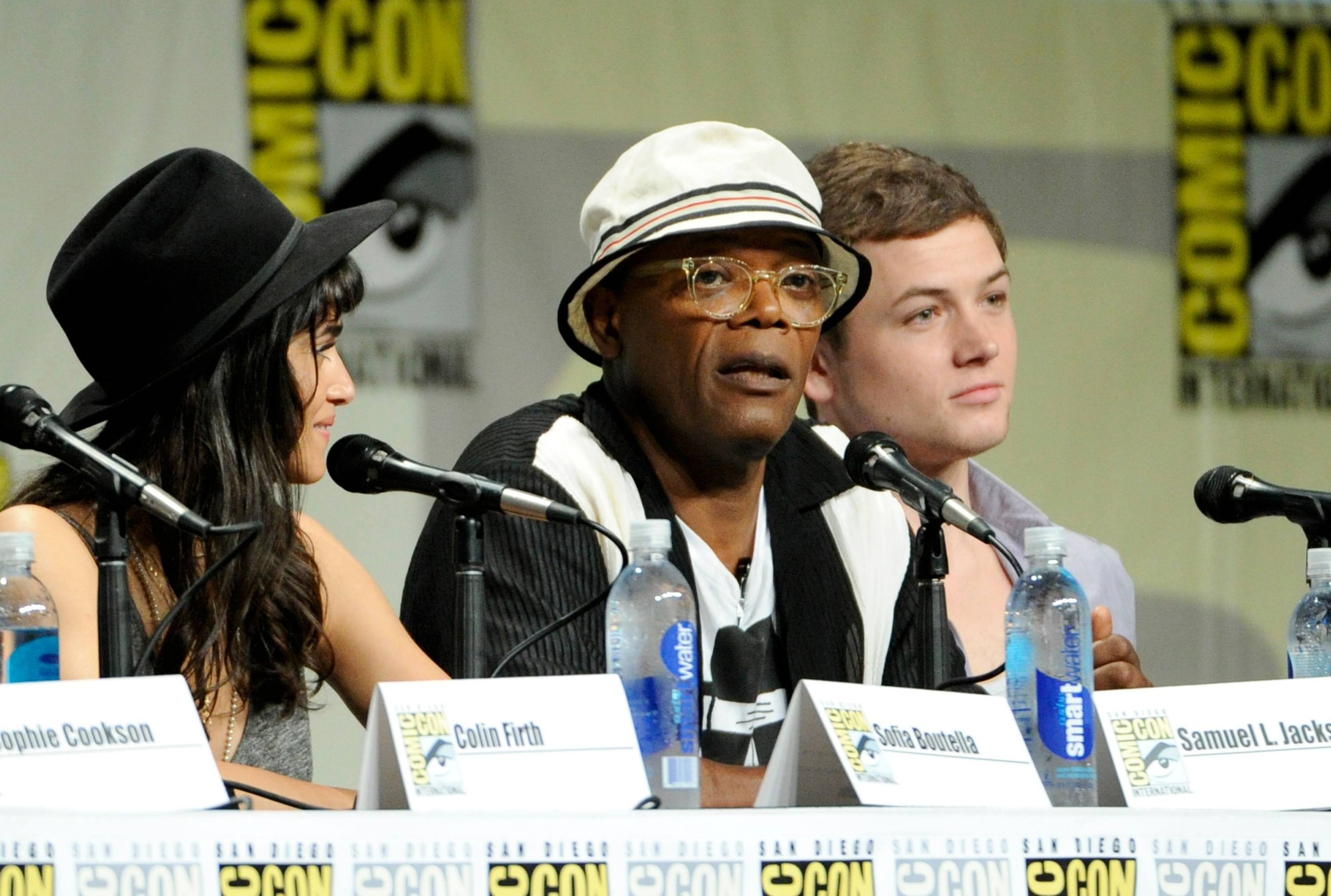 "Sofia Boutella, from left, Samuel L. Jackson and Taron Egerton attend the 20th Century Fox panel for ""Kingsman: Secret Service"" on Day 2 of Comic-Con International on Friday."