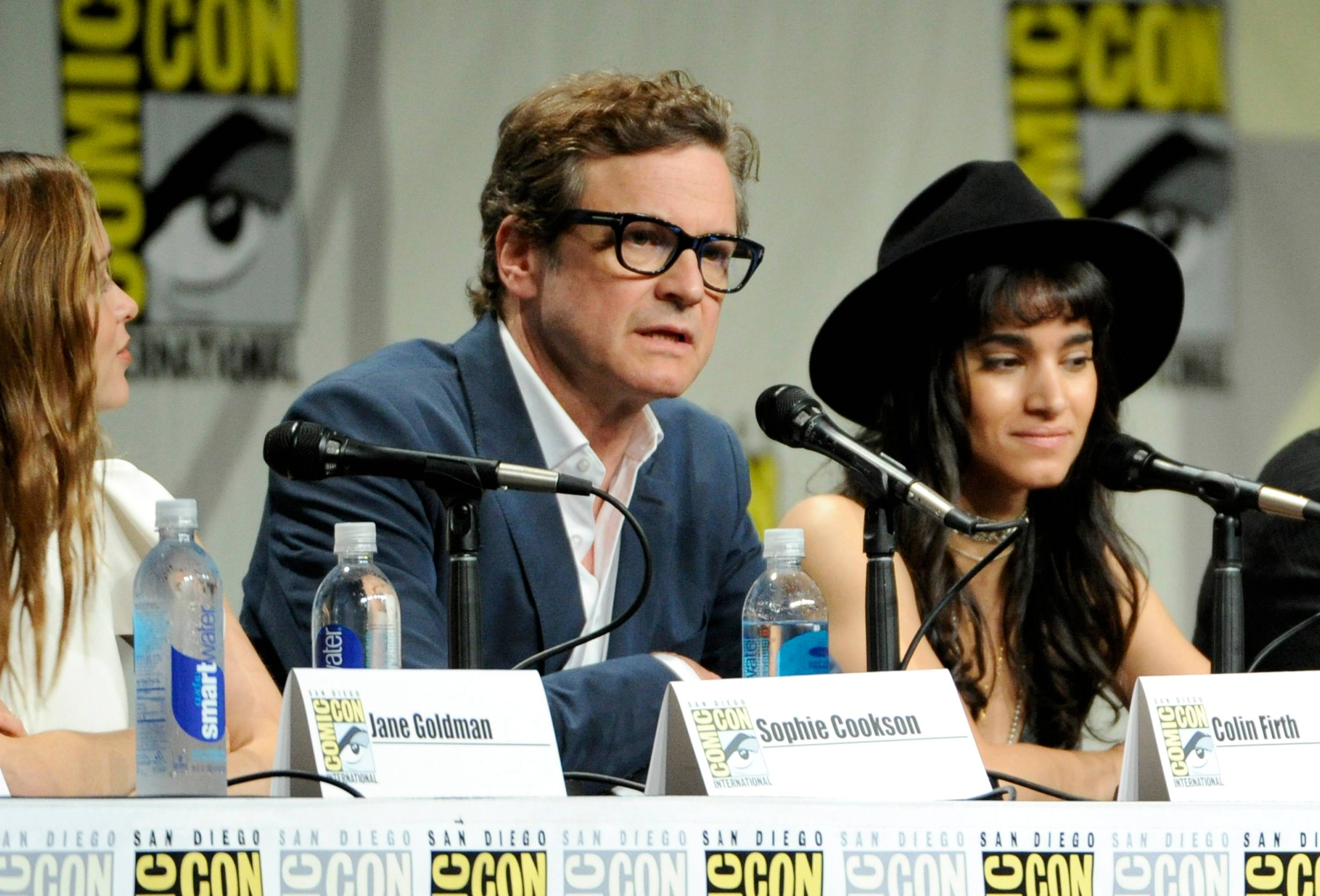 "Sophie Cookson, from left, Colin Firth and Sofia Boutella attend the 20th Century Fox panel for ""Kingsman: Secret Service"" on Day 2 of Comic-Con International on Friday."