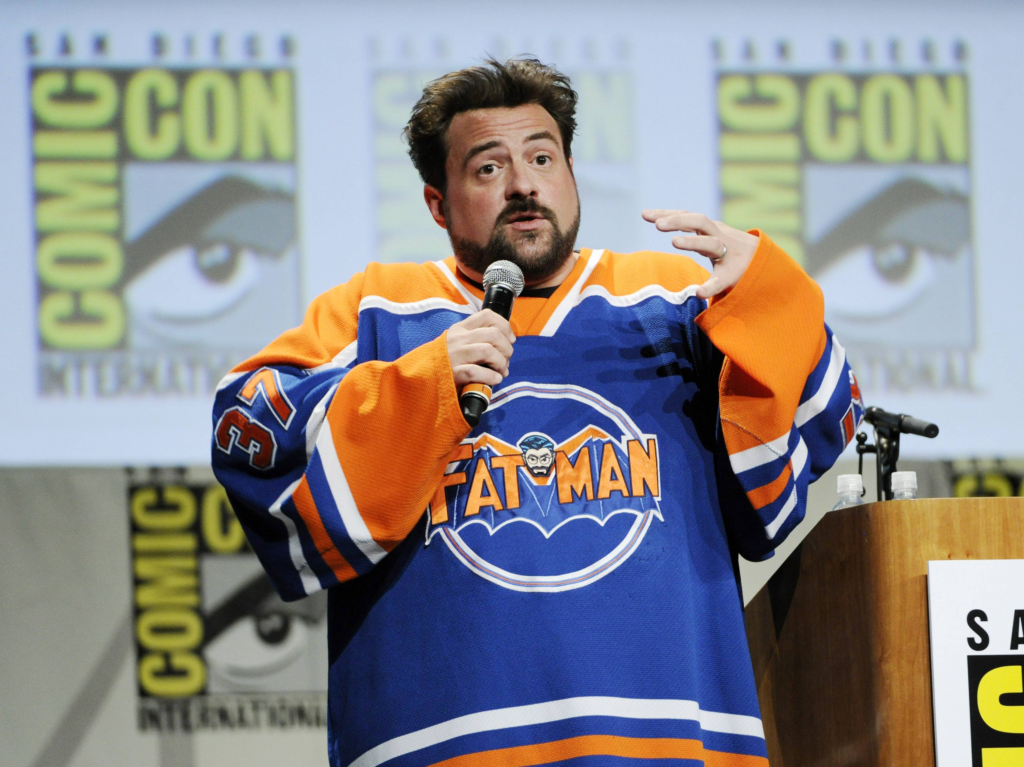 "Filmmaker Kevin Smith addresses the audience during ""The Musk of Tusk: An Evening with Kevin Smith"" on Day 2 of Comic-Con International on Friday."