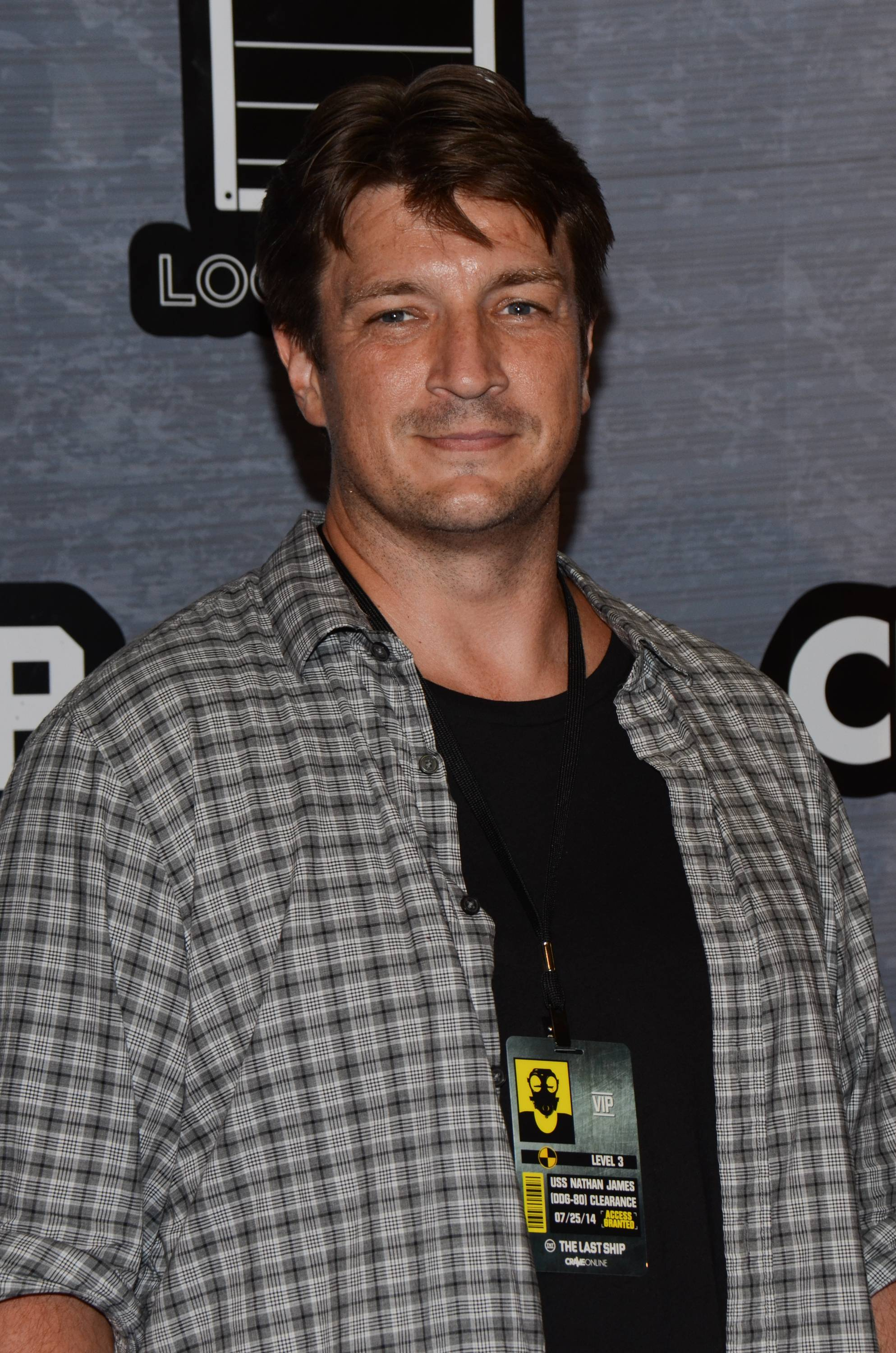 Nathan Fillion seen at The Last Ship Storm Comic-Con by Sea on Day 2 of Comic-Con International at USS Midway on Friday.