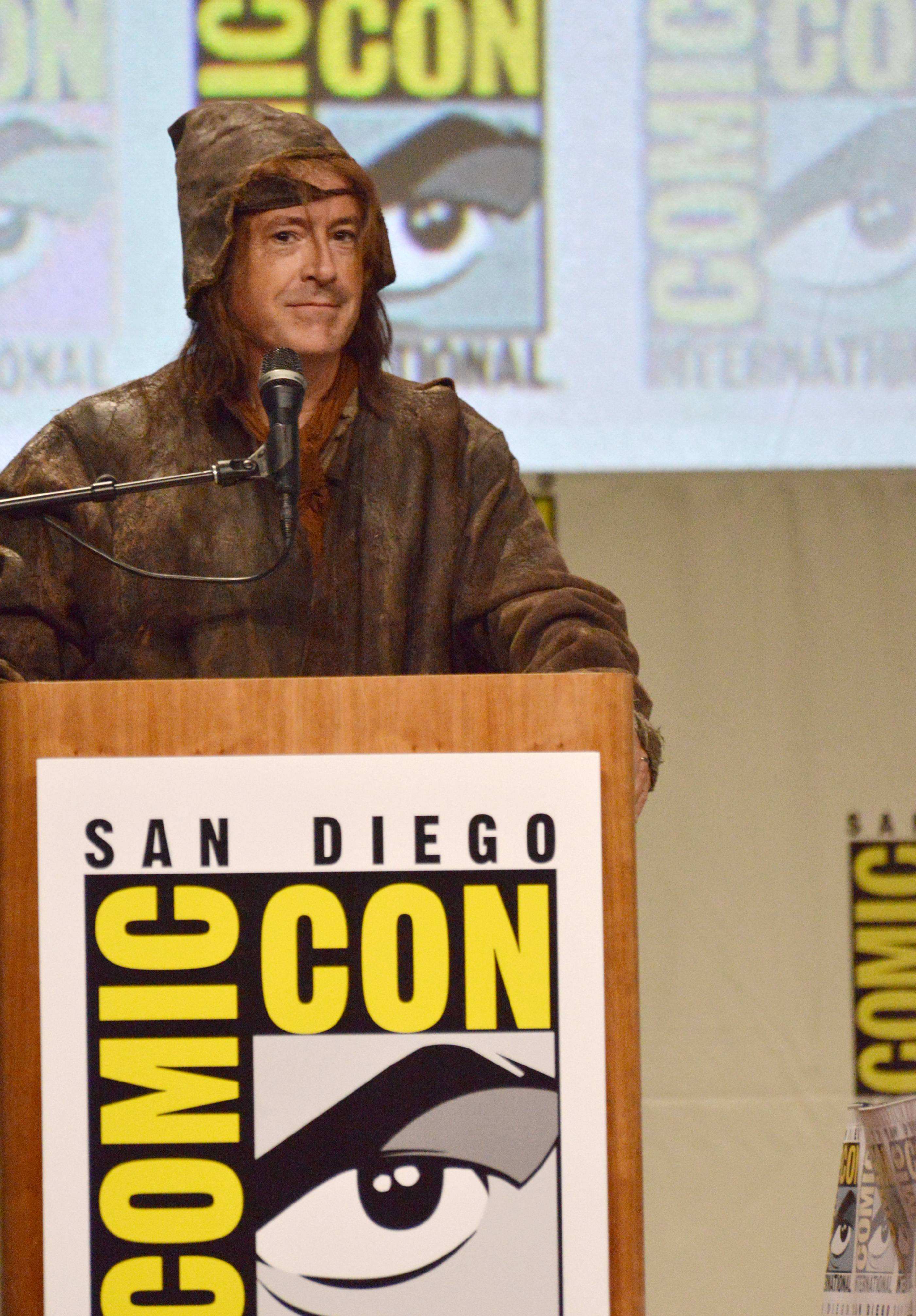 "Stephen Colbert attends the Warner Bros. Pictures panel for ""The Hobbit: The Battle of the Five Armies"" on Day 3 of Comic-Con International on Saturday."