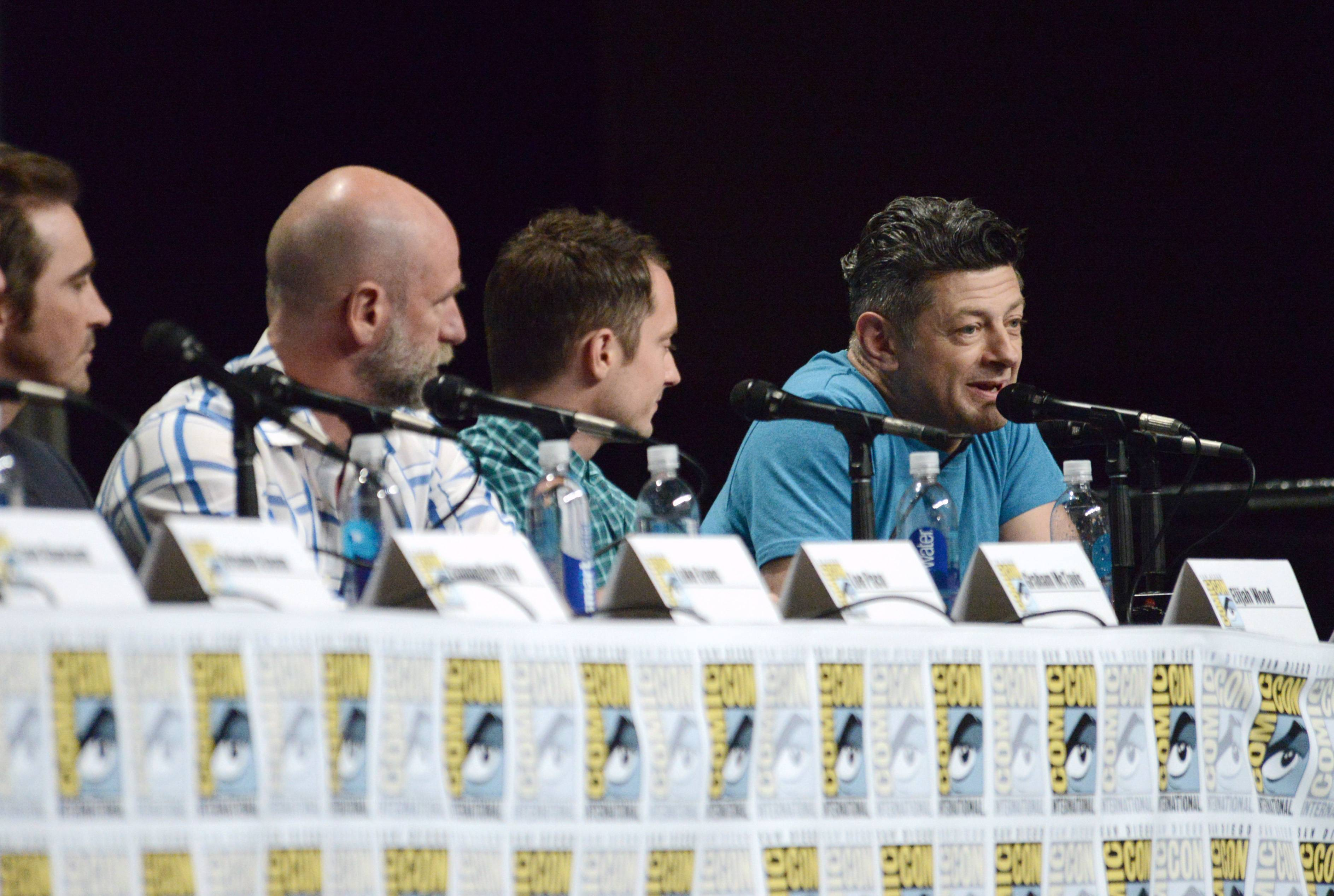 "Graham McTavish, from left, Elijah Wood and Andy Serkis attend the Warner Bros. Pictures panel for ""The Hobbit: The Battle of the Five Armies"" on Day 3 of Comic-Con International on Saturday."