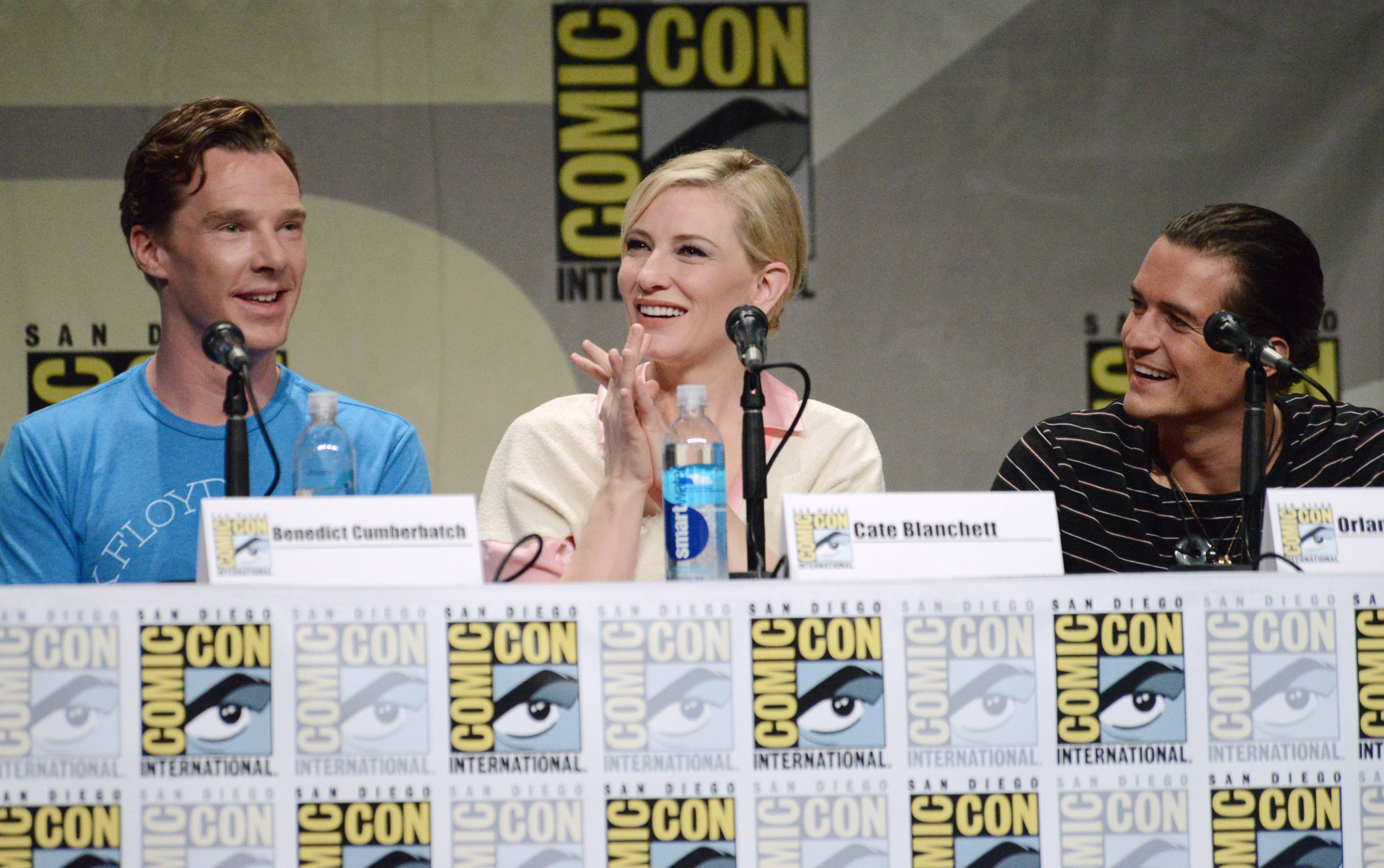 "Benedict Cumberbatch, from left, Cate Blanchett and Orlando Bloom attend the Warner Bros. Pictures panel for ""The Hobbit: The Battle of the Five Armies"" on Day 3 of Comic-Con International on Saturday."