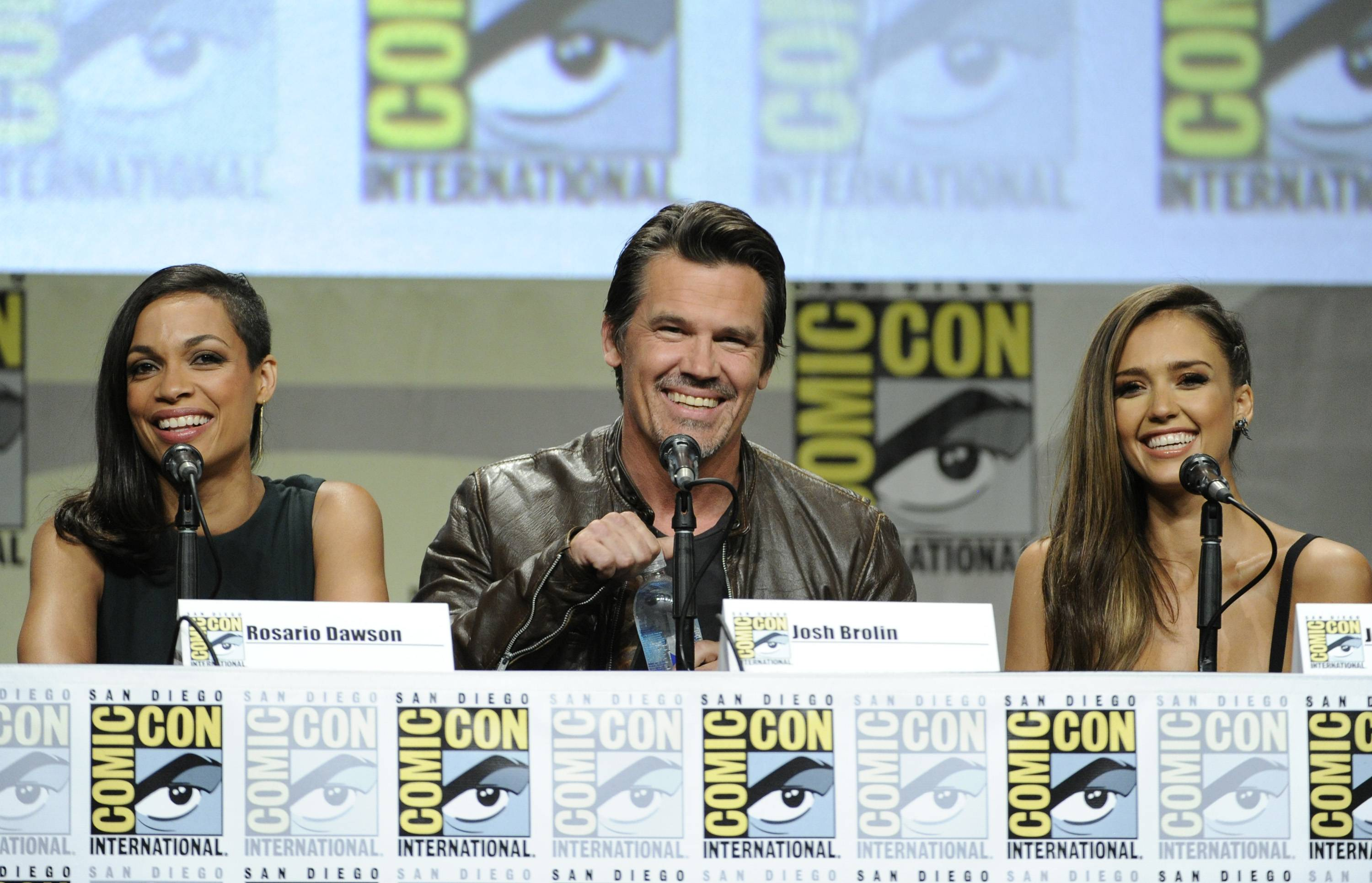"Rosario Dawson, from left, Josh Brolin and Jessica Alba attend the ""Sin City: A Dame To Kill For"" panel on Day 3 of Comic-Con International on Saturday."