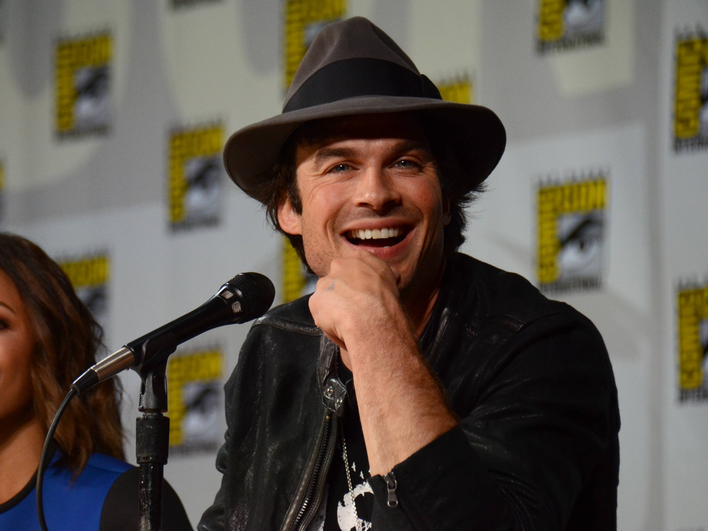 "Ian Somerhalder attends the ""Vampire Diaries"" panel on Day 3 of Comic-Con International on Saturday."
