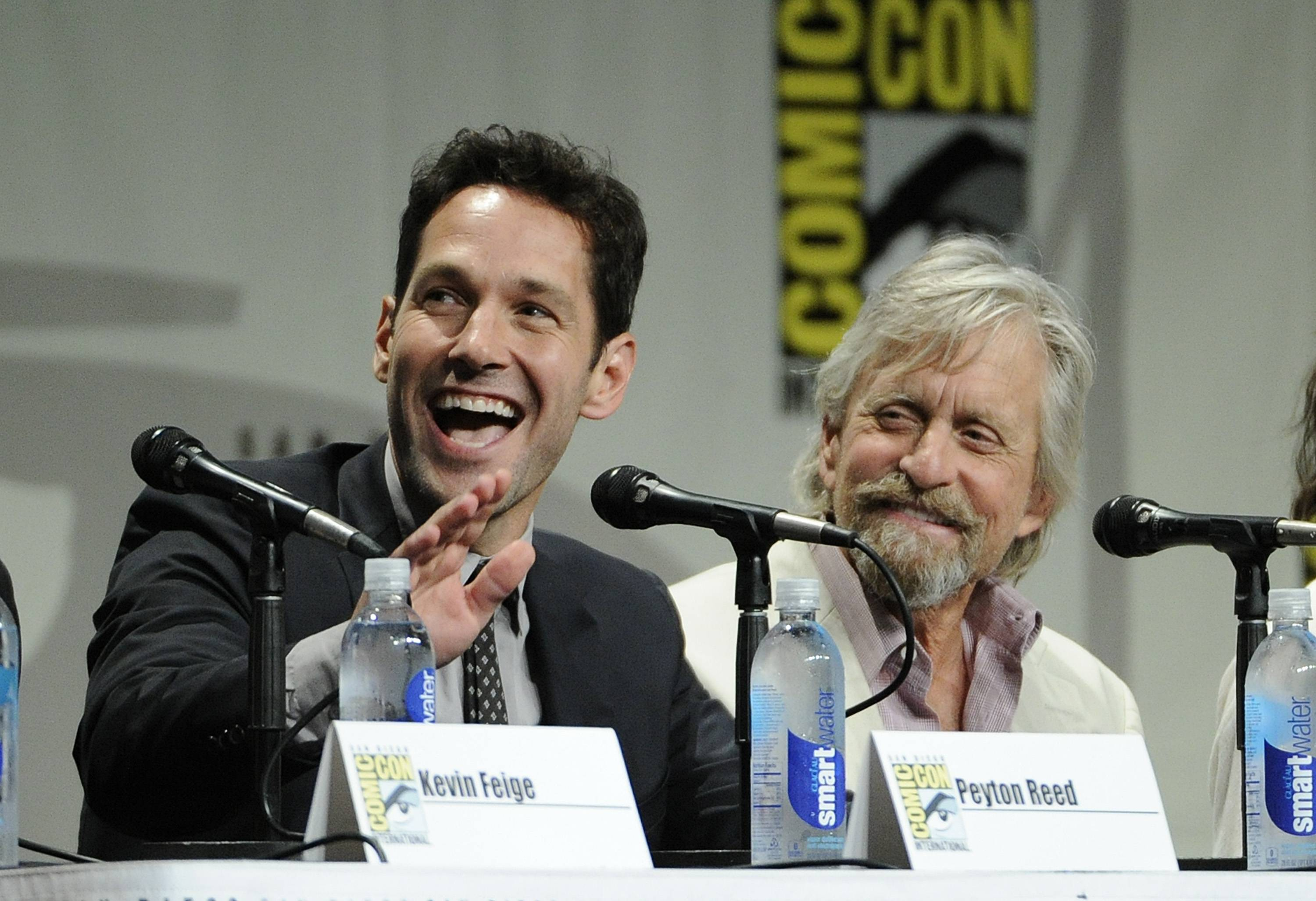 "Paul Rudd, left, and Michael Douglas, cast members in the upcoming Marvel film ""Ant-Man,"" take part in the Marvel panel at Comic-Con International on Saturday."