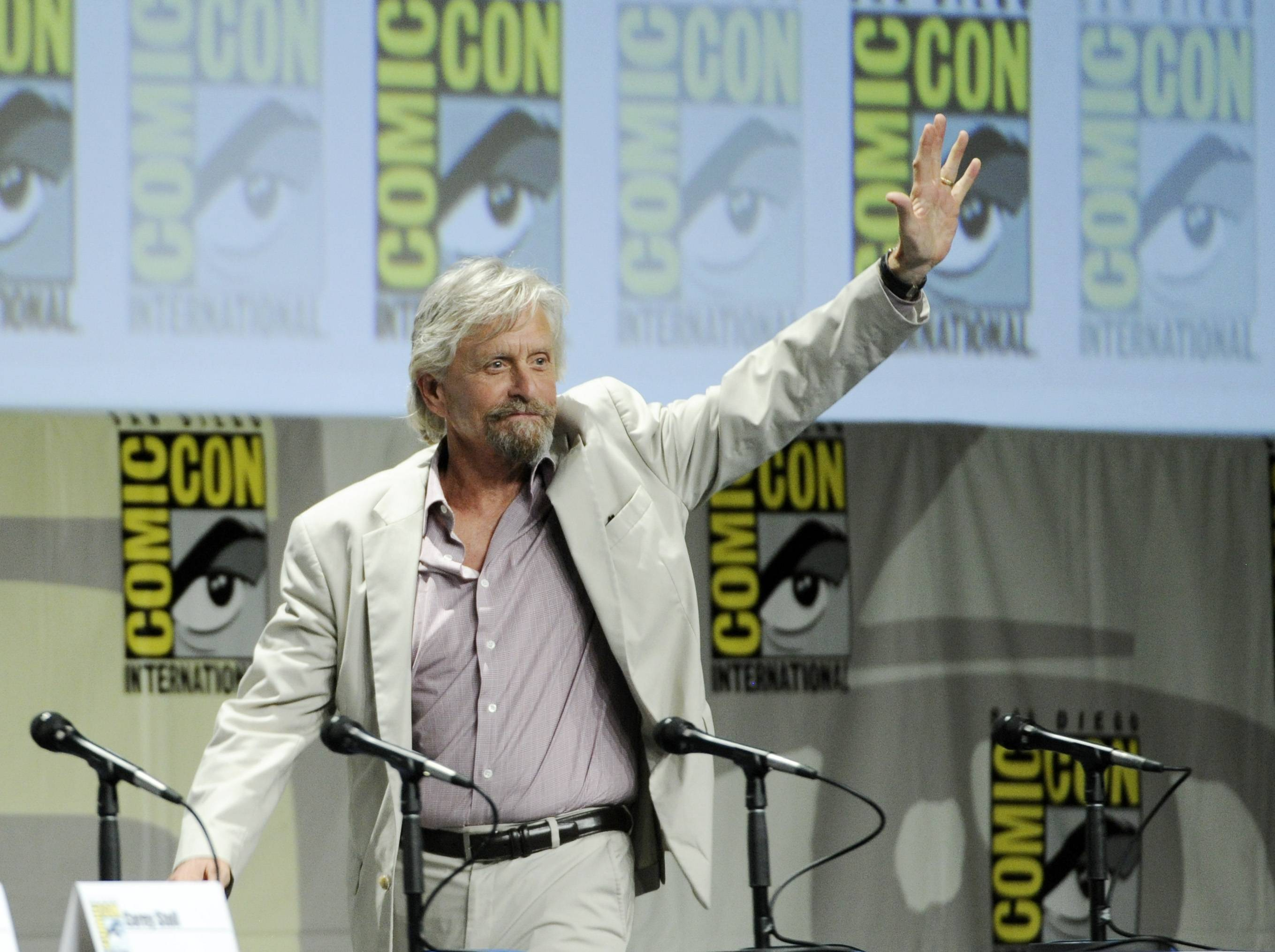 "Michael Douglas, a cast member in the upcoming Marvel film ""Ant-Man,"" arrives for the Marvel panel at Comic-Con International on Saturday."