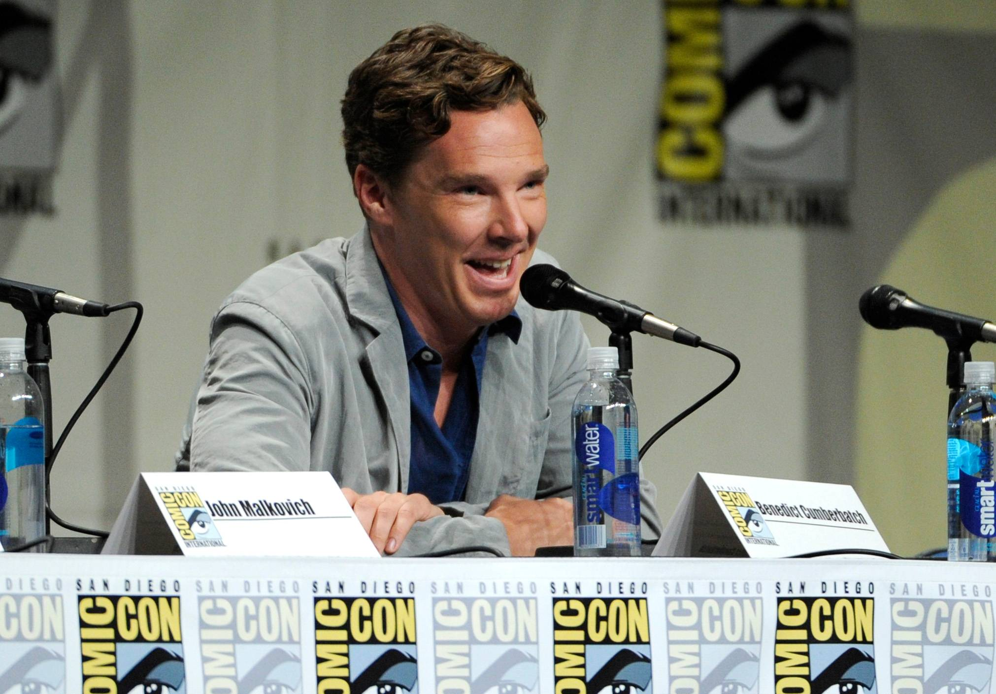 "Benedict Cumberbatch attends the ""DreamWorks Animation"" panel on Day 1 of Comic-Con International on Thursday in San Diego."