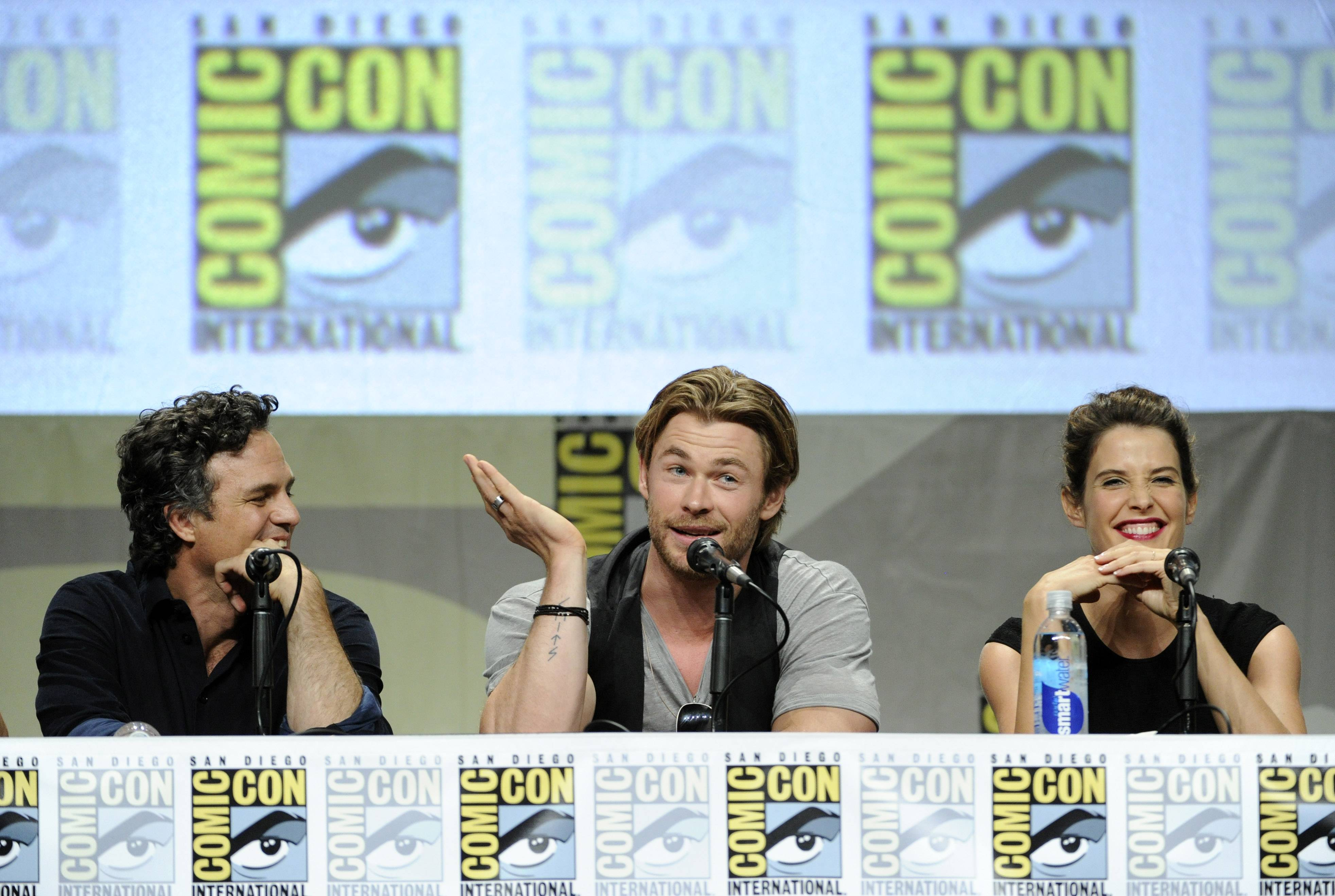 Actors Mark Ruffalo, left, Chris Hemsworth, center, and Cobie Smulders take part in the Marvel panel at Comic-Con International on Saturday.