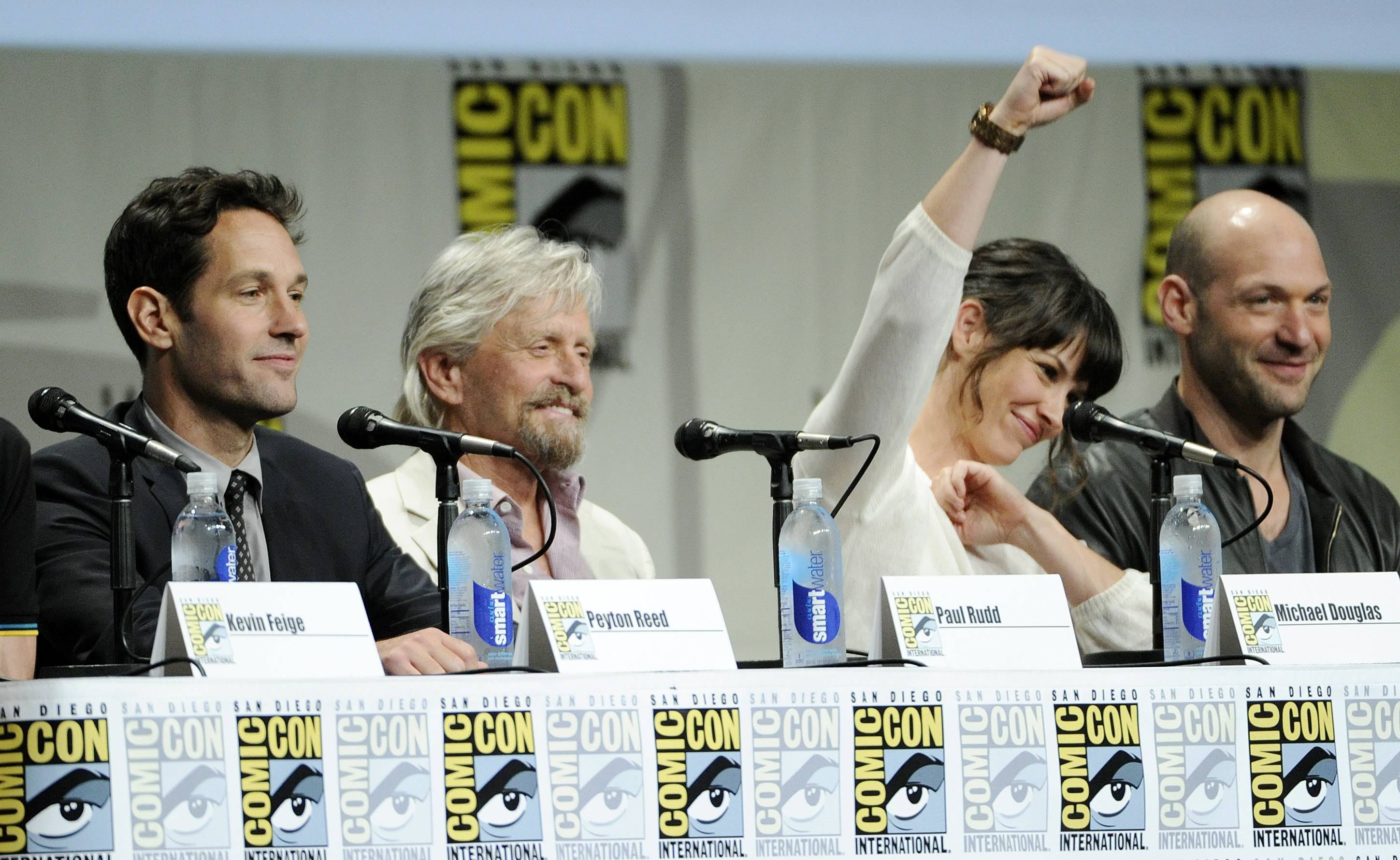 "Actors Paul Rudd, from left, Michael Douglas, Evangeline Lilly and Corey Stoll, cast members in the upcoming Marvel film ""Ant-Man,"" take part in the Marvel panel at Comic-Con International on Saturday."