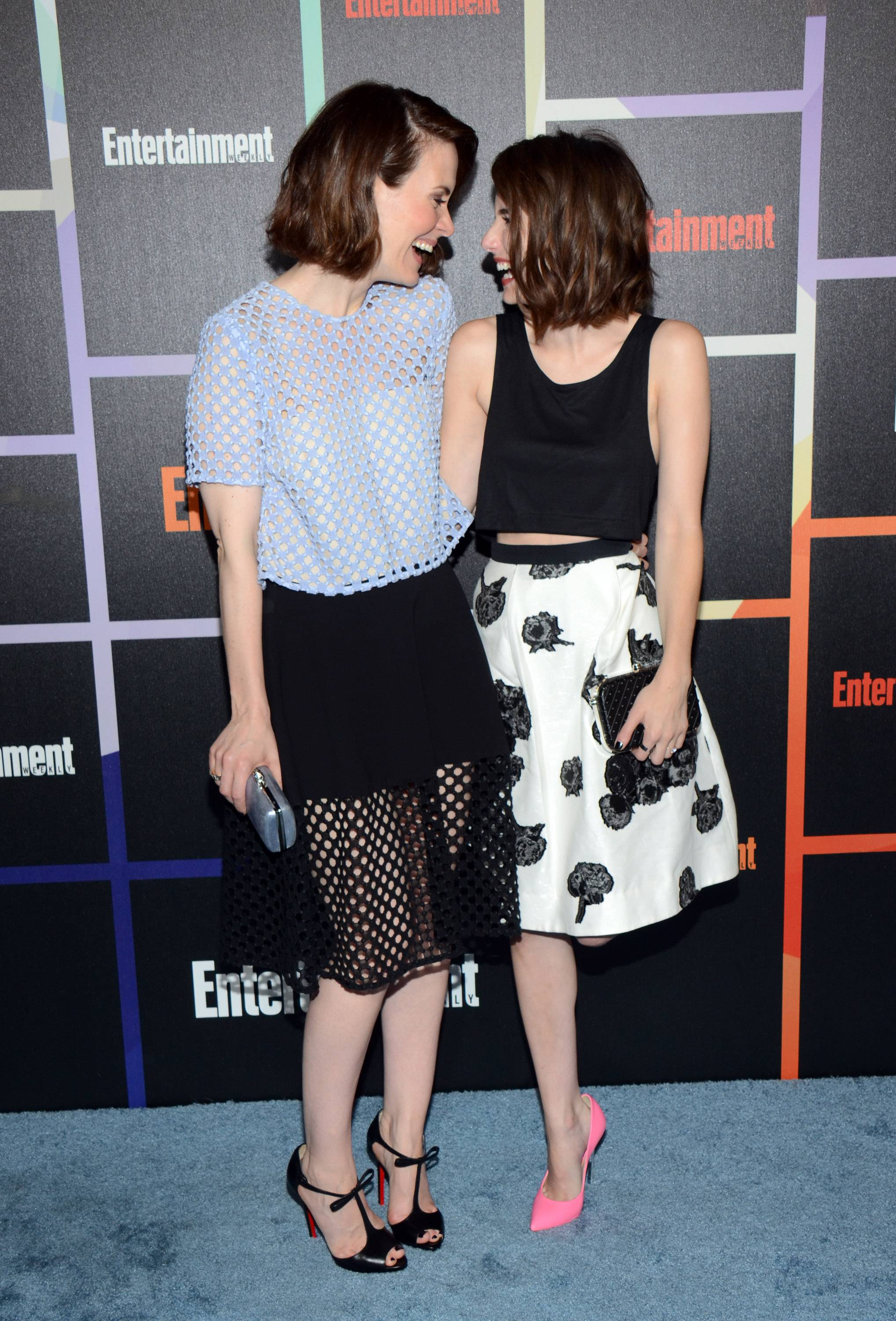 From left, Sarah Paulson and Emma Roberts arrive at Entertainment Weekly's Annual Comic-Con Closing Night Celebration at the Hard Rock Hotel on Saturday.