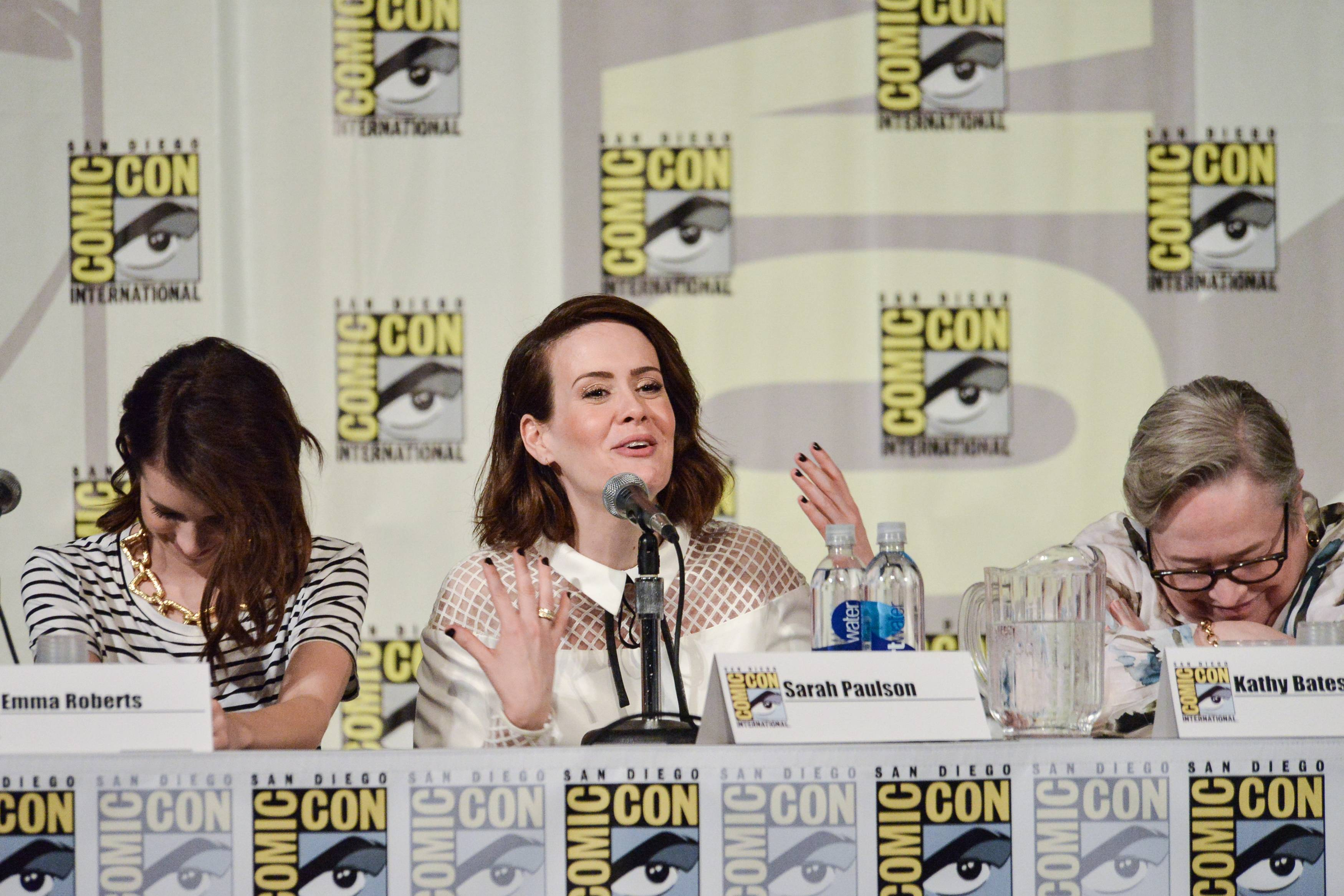 "From left, Emma Roberts, Sarah Paulson, and Kathy Bates attend the ""American Horror Story"" panel  on day 3 of Comic-Con International on Saturday."