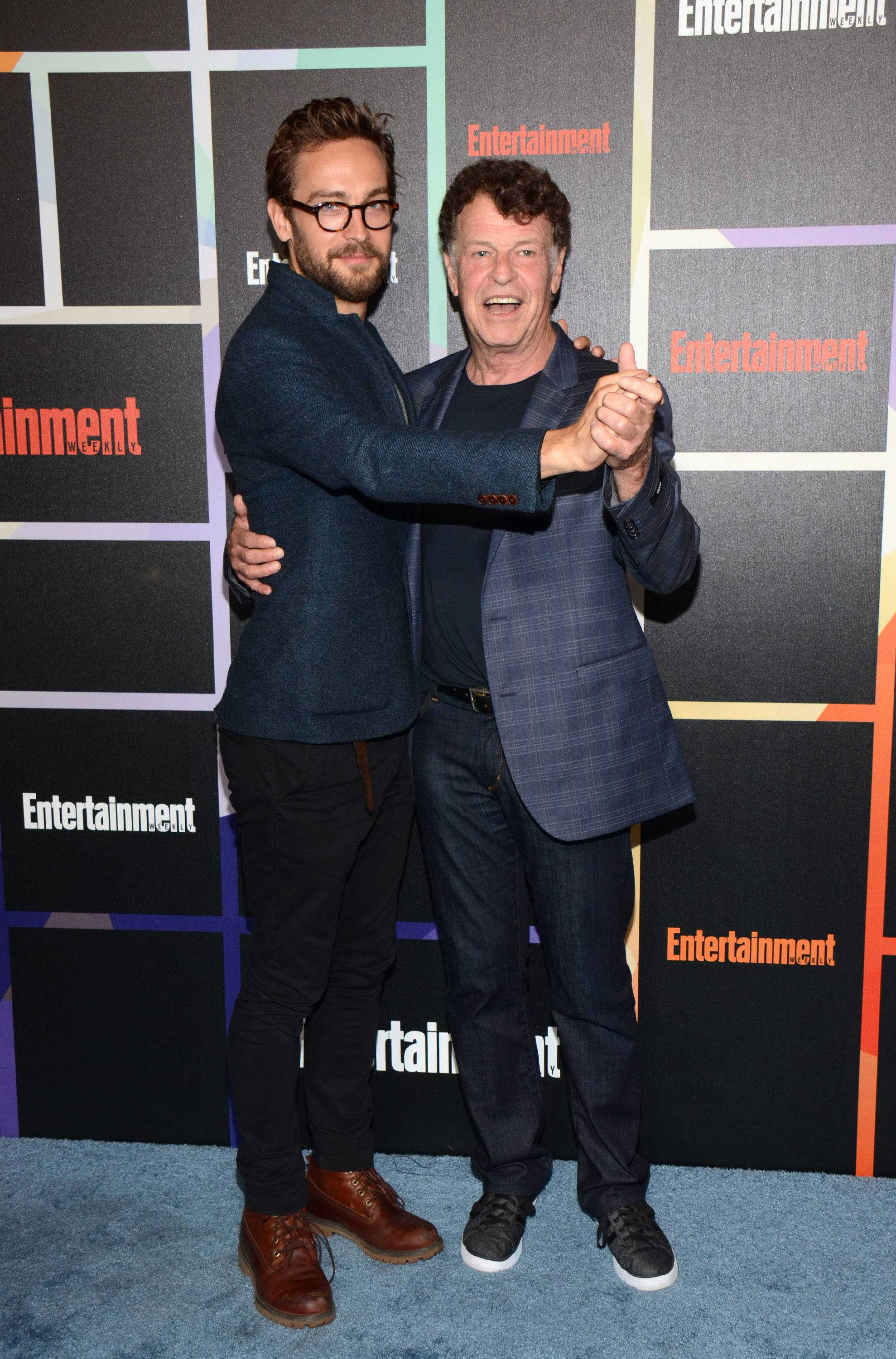 From left, Tom Mison and John Noble arrive at Entertainment Weekly's Annual Comic-Con Closing Night Celebration at the Hard Rock Hotel on Saturday.