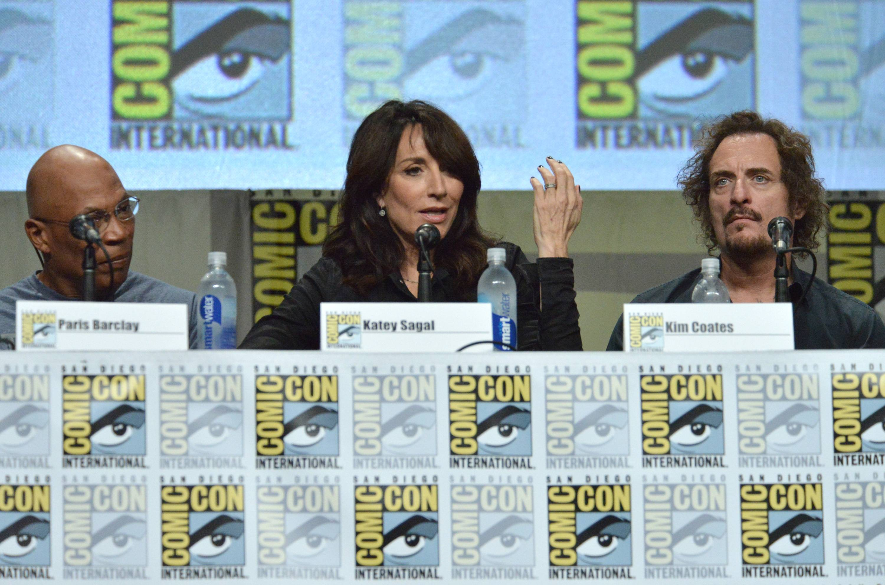 "Paris Barclay, from left, Katey Sagal and Kim Coates attend the ""Sons of Anarchy"" panel on day 4 of Comic-Con International on Sunday."
