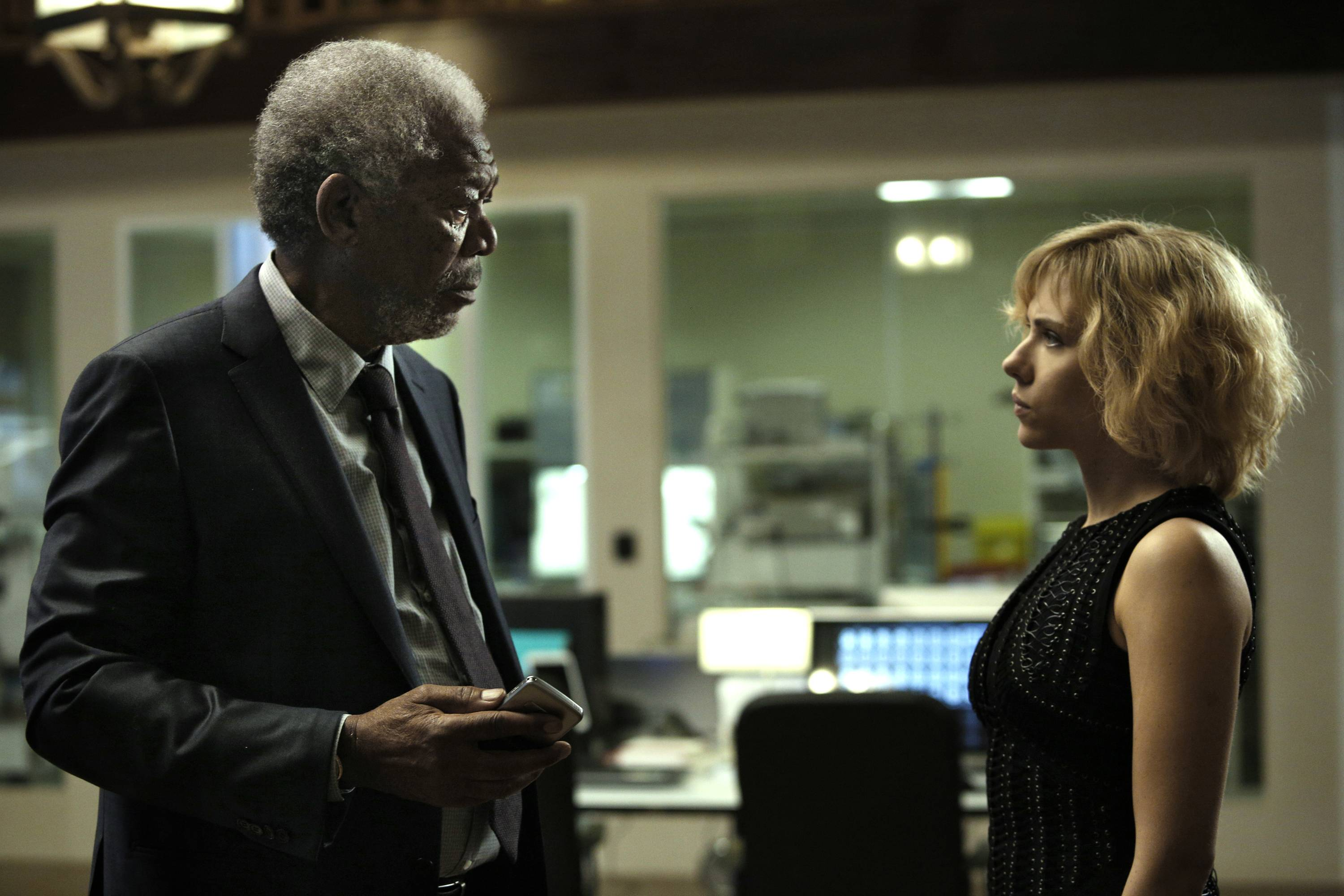 "Morgan Freeman and Scarlett Johansson star in ""Lucy."""