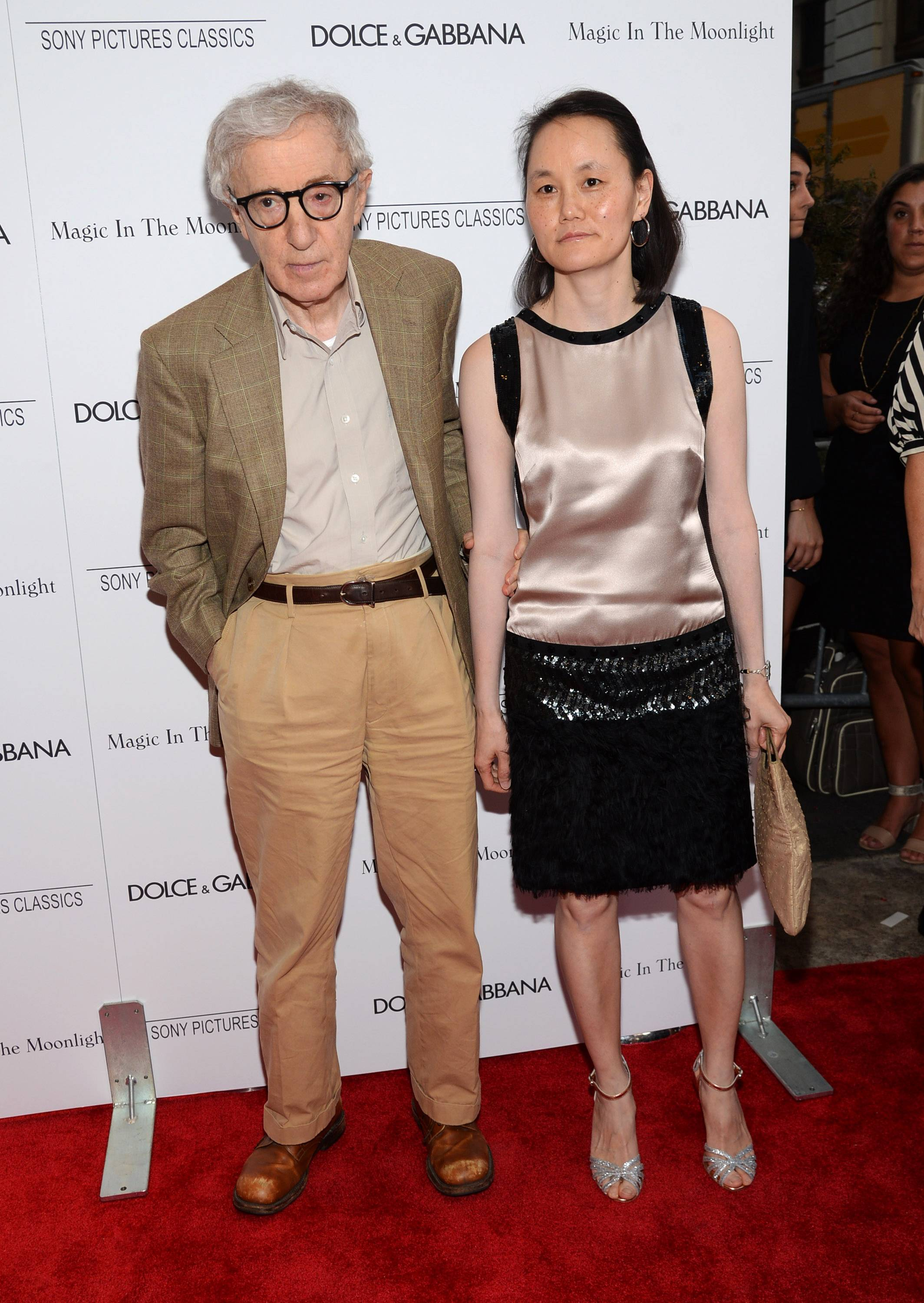 "Writer/director Woody Allen, 78, and Soon-Yi Previn arrive at the premiere of ""Magic in the Moonlight"" in New York. The movie opened in theater Friday."