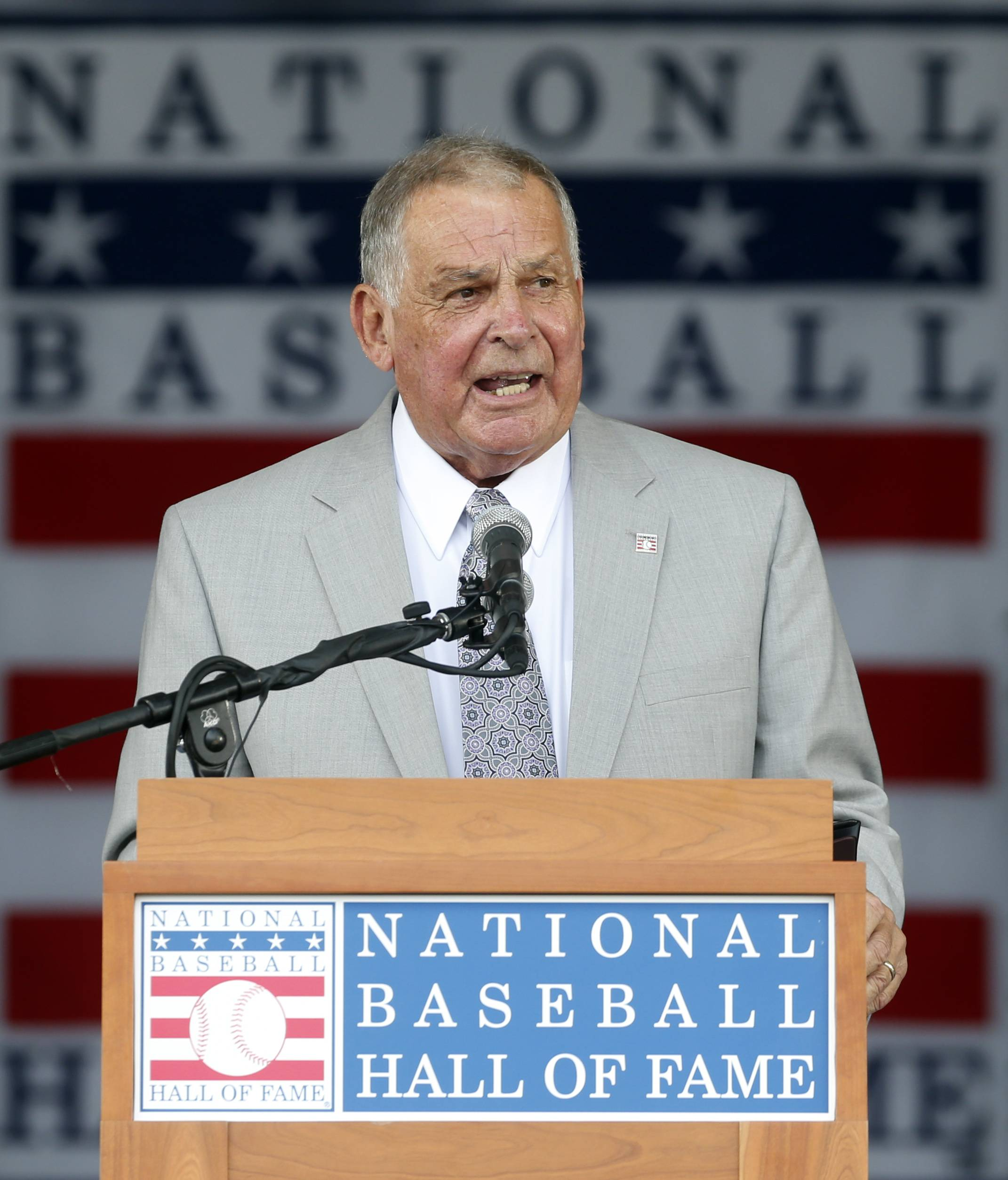 National Baseball Hall of Fame inductee Bobby Cox speaks during an induction ceremony at the Clark Sports Center on Sunday, July 27, 2014, in Cooperstown, N.Y.